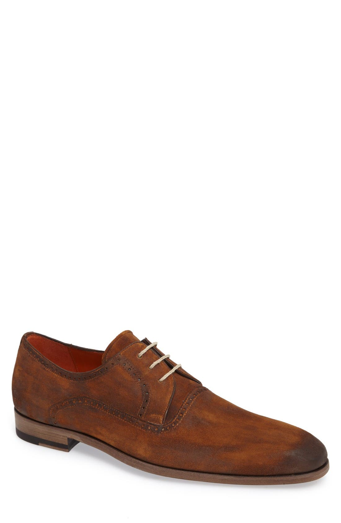 Euclid Plain Toe Derby,                         Main,                         color, Tan Suede