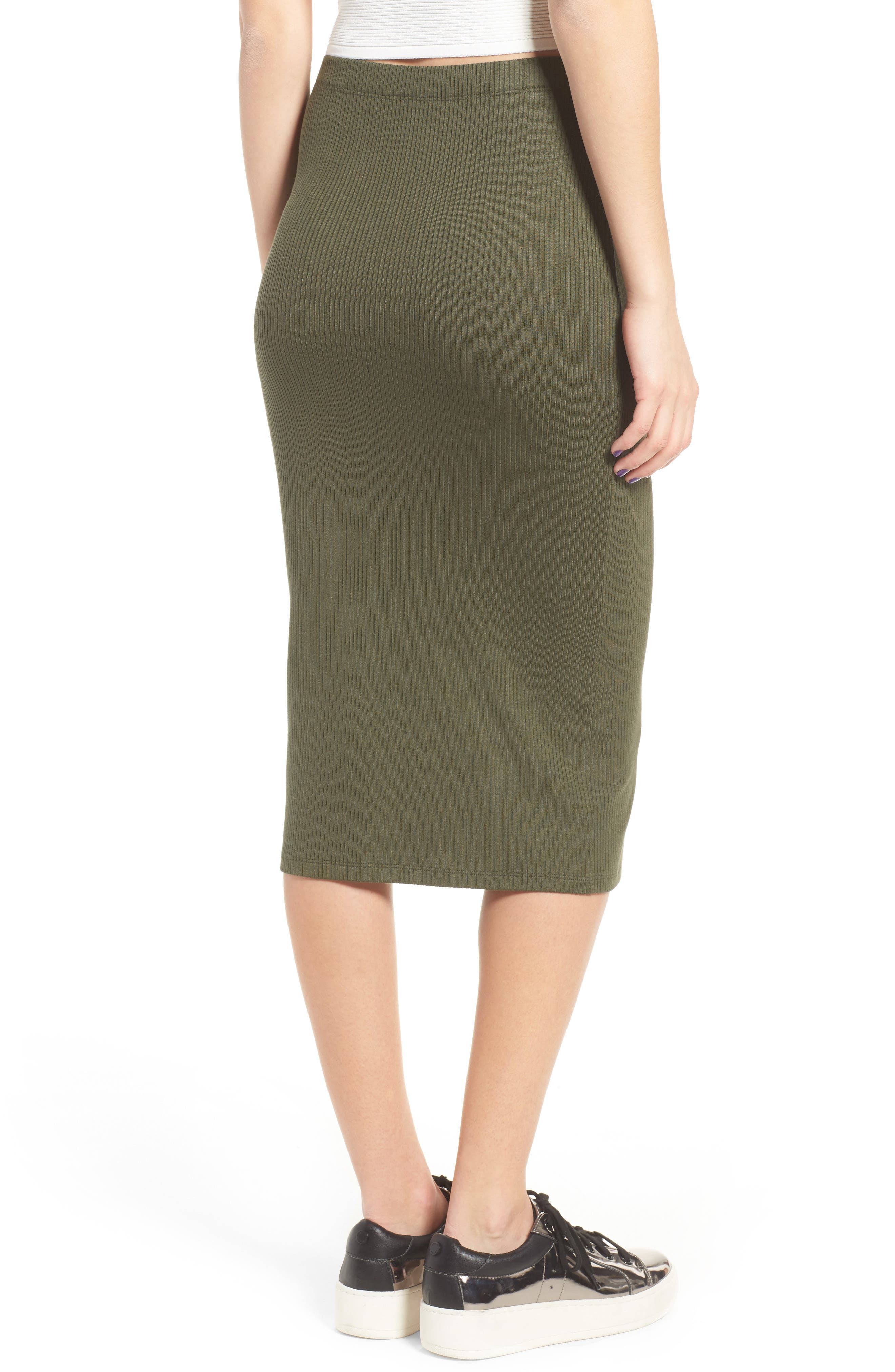 Rib Midi Skirt,                             Alternate thumbnail 3, color,                             Olive Sarma