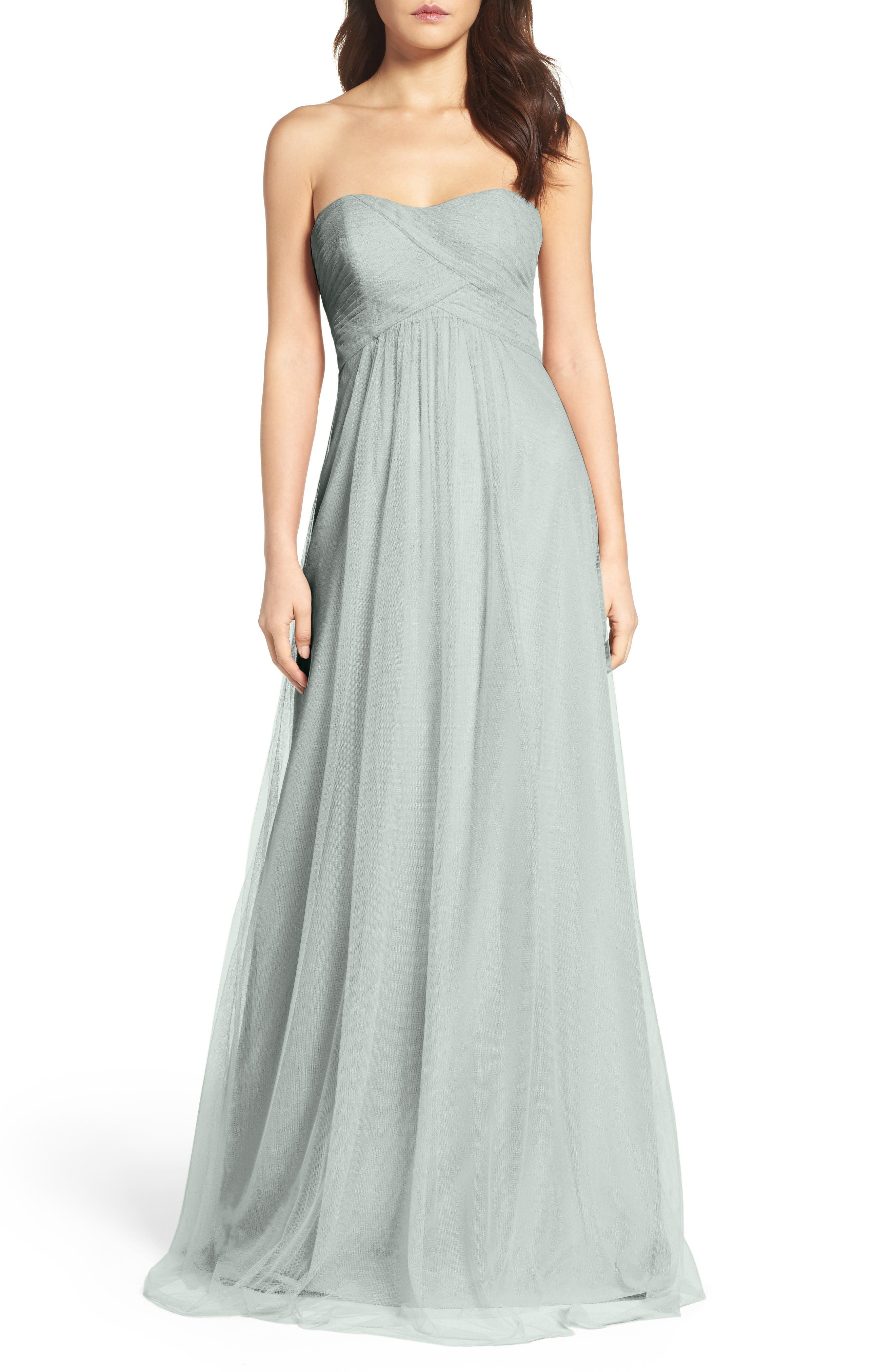 Strapless Tulle Gown,                             Main thumbnail 1, color,                             Eucalyptus