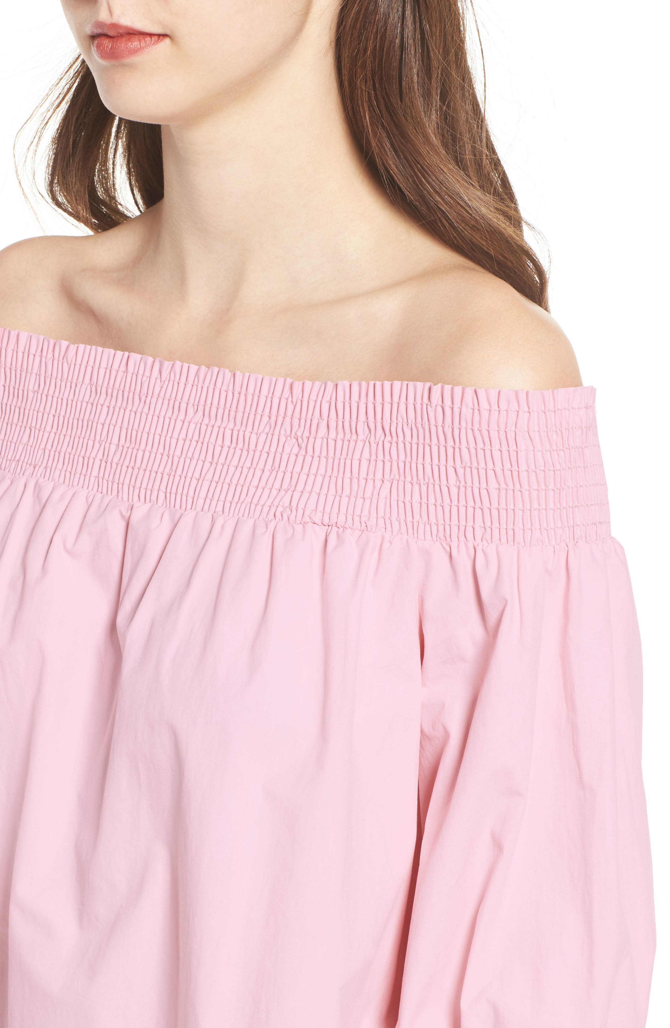 Bow Off-the-Shoulder Top,                             Alternate thumbnail 4, color,                             Blush