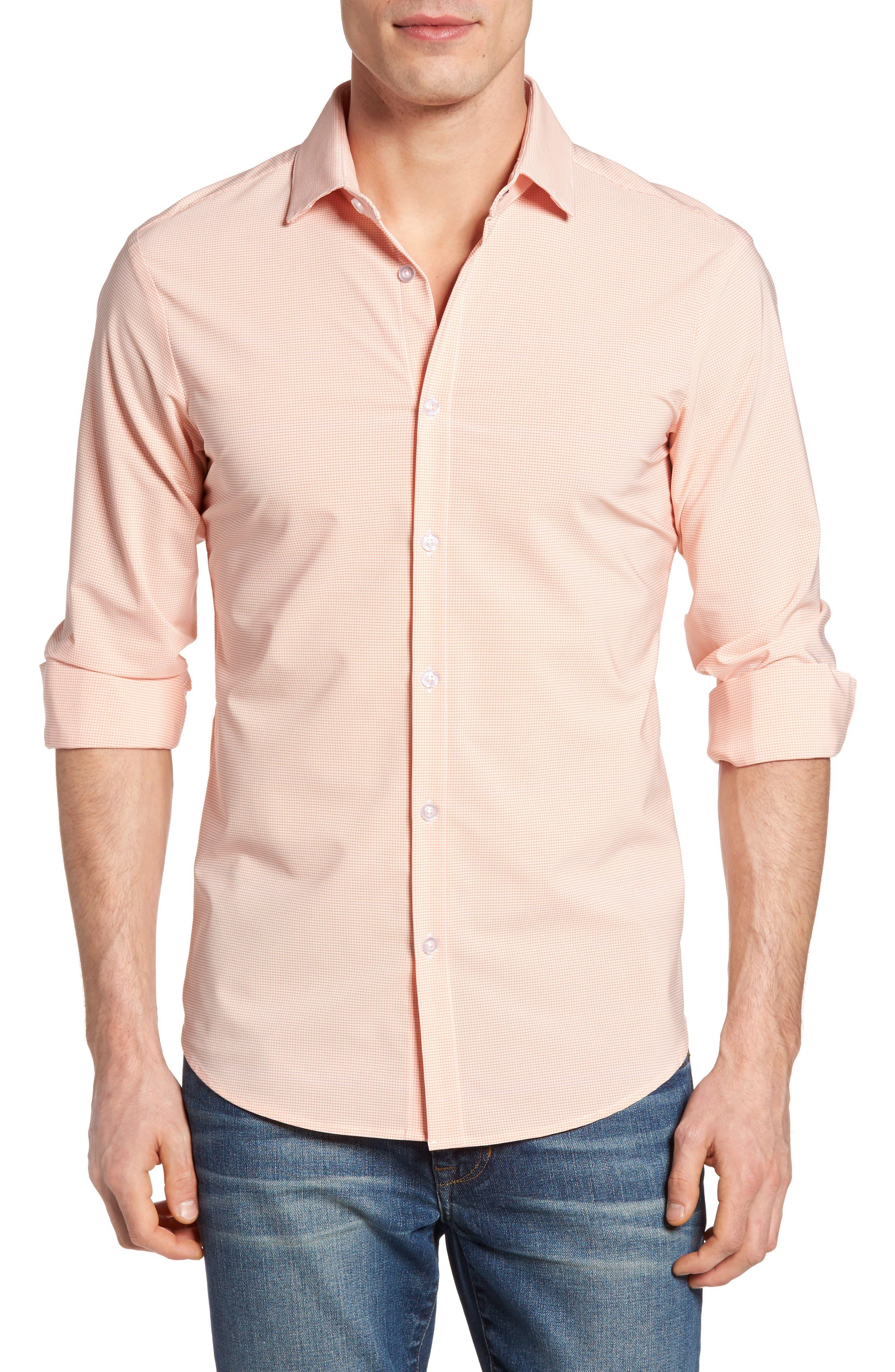 Charles Microcheck Performance Sport Shirt,                         Main,                         color, Peach