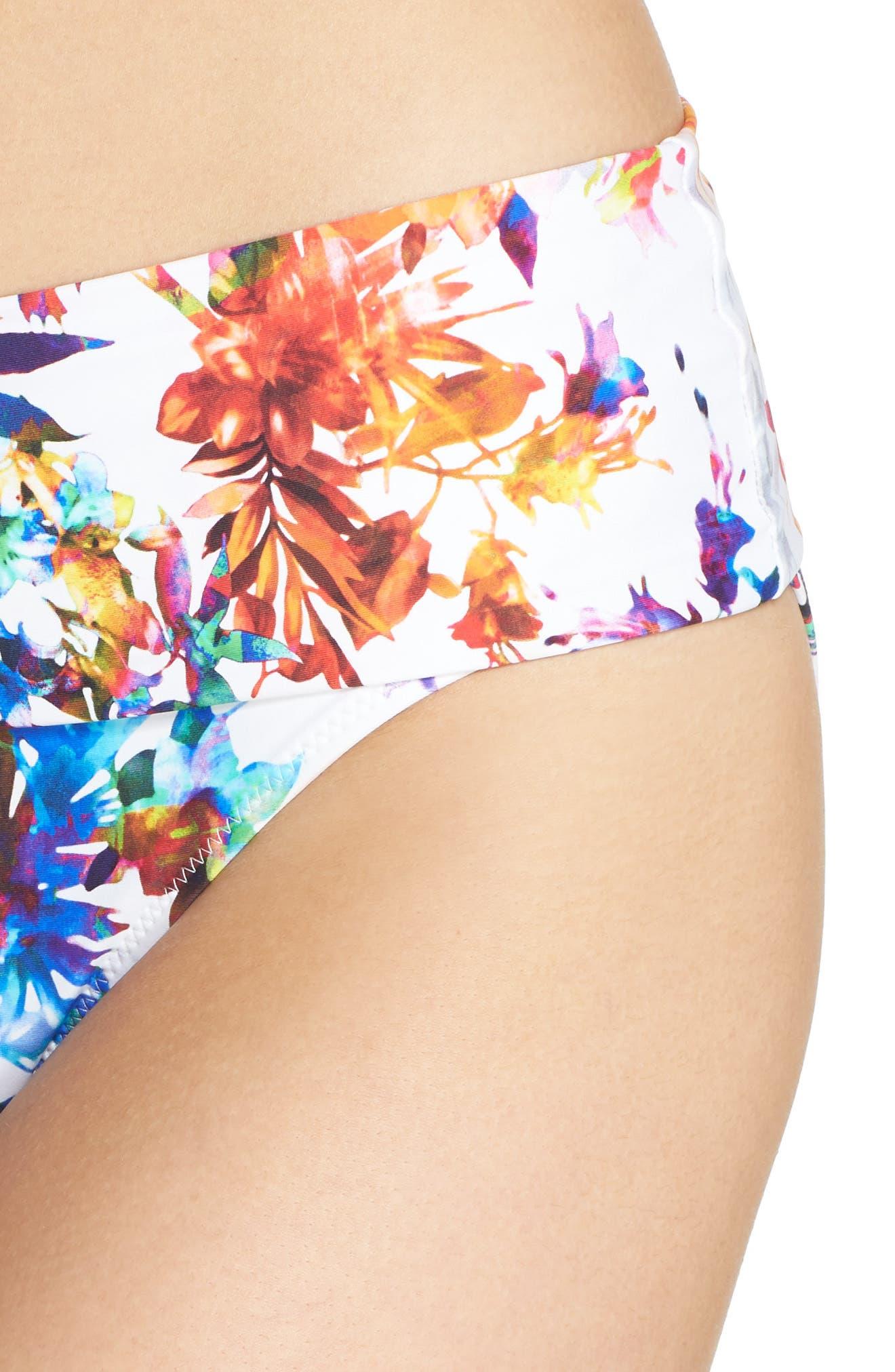 Agra Foldover Waist Bikini Bottoms,                             Alternate thumbnail 4, color,                             White Multi