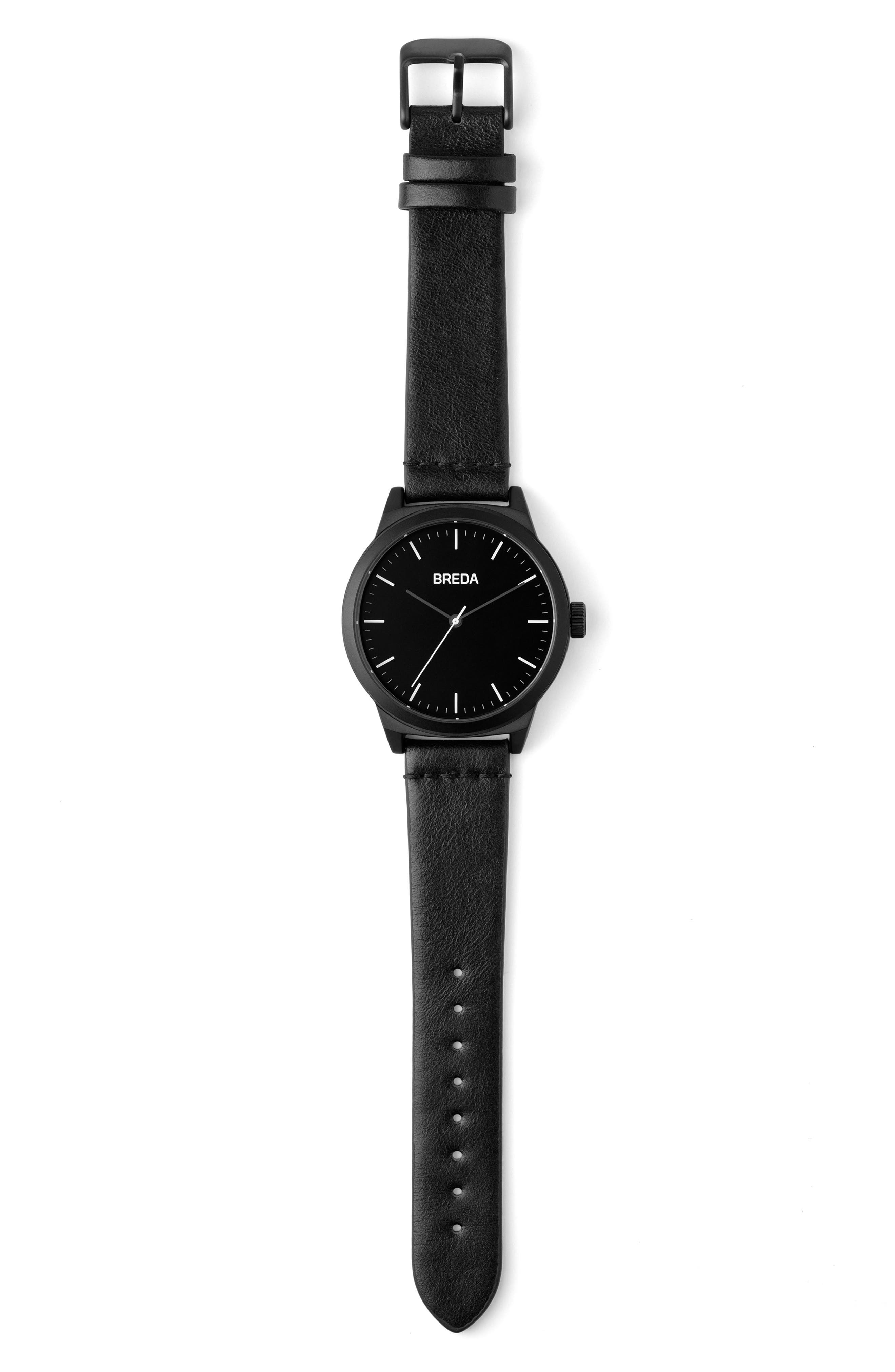Rand Leather Strap Watch, 43mm,                             Alternate thumbnail 2, color,                             Black/ Black