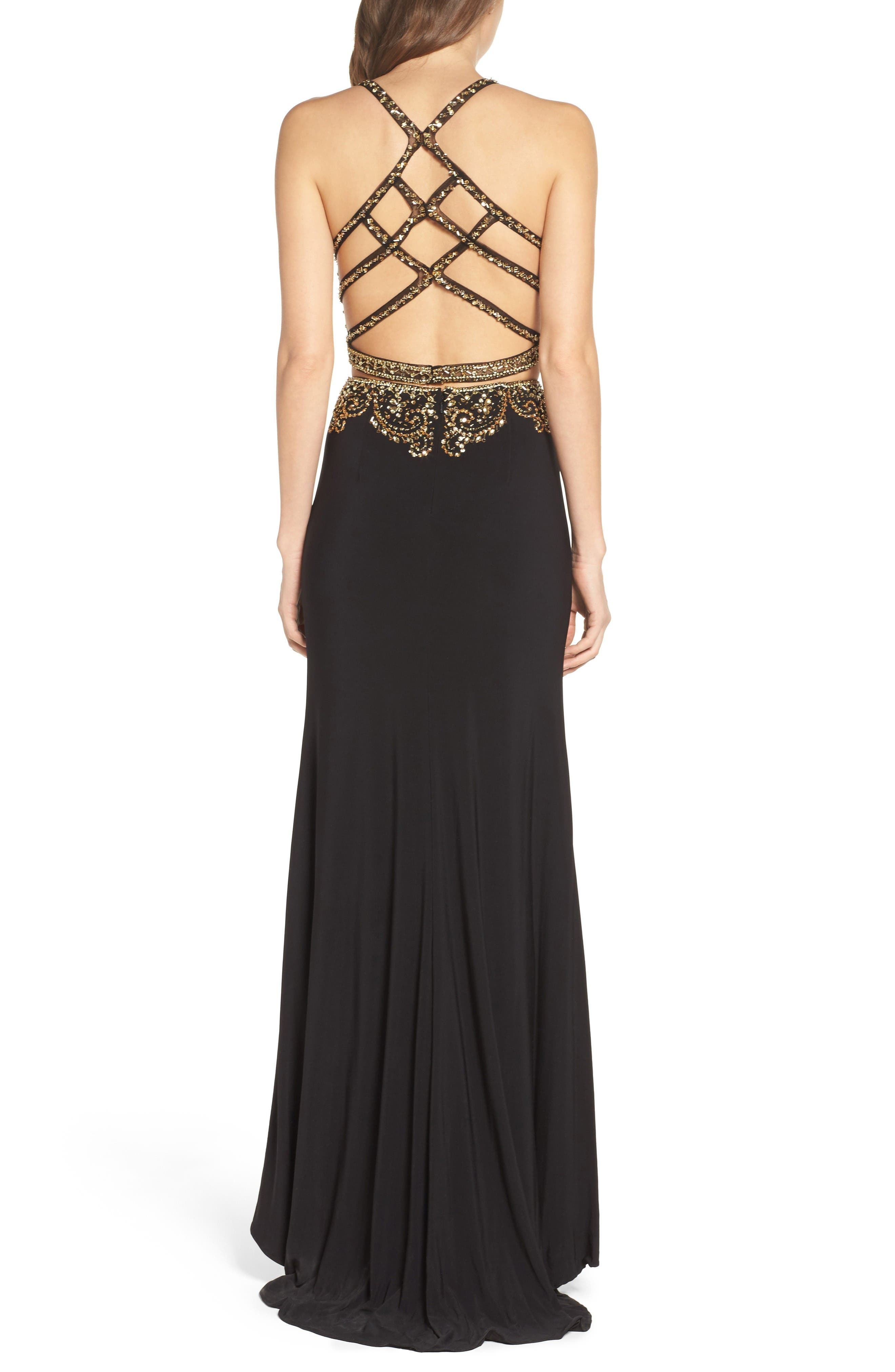 Embellished Two-Piece Gown,                             Alternate thumbnail 2, color,                             Onyx