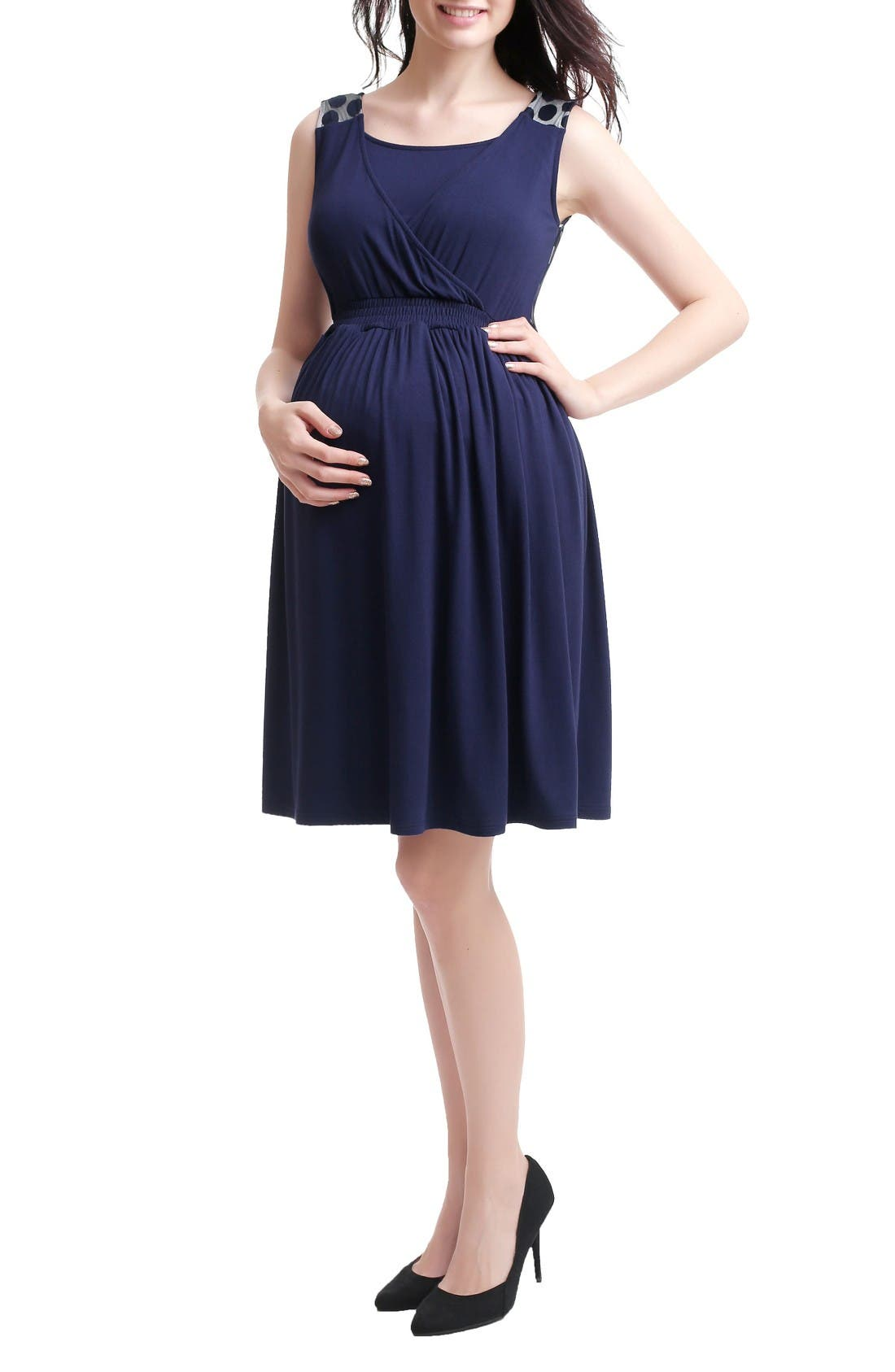 Tegan Maternity/Nursing Skater Dress,                         Main,                         color, Navy