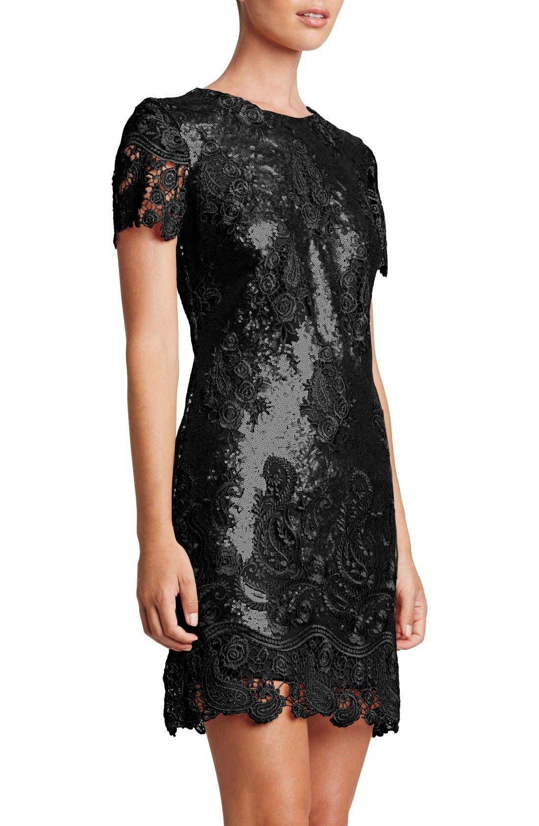 Joy Sequin Lace Minidress,                         Main,                         color, Black/ Black