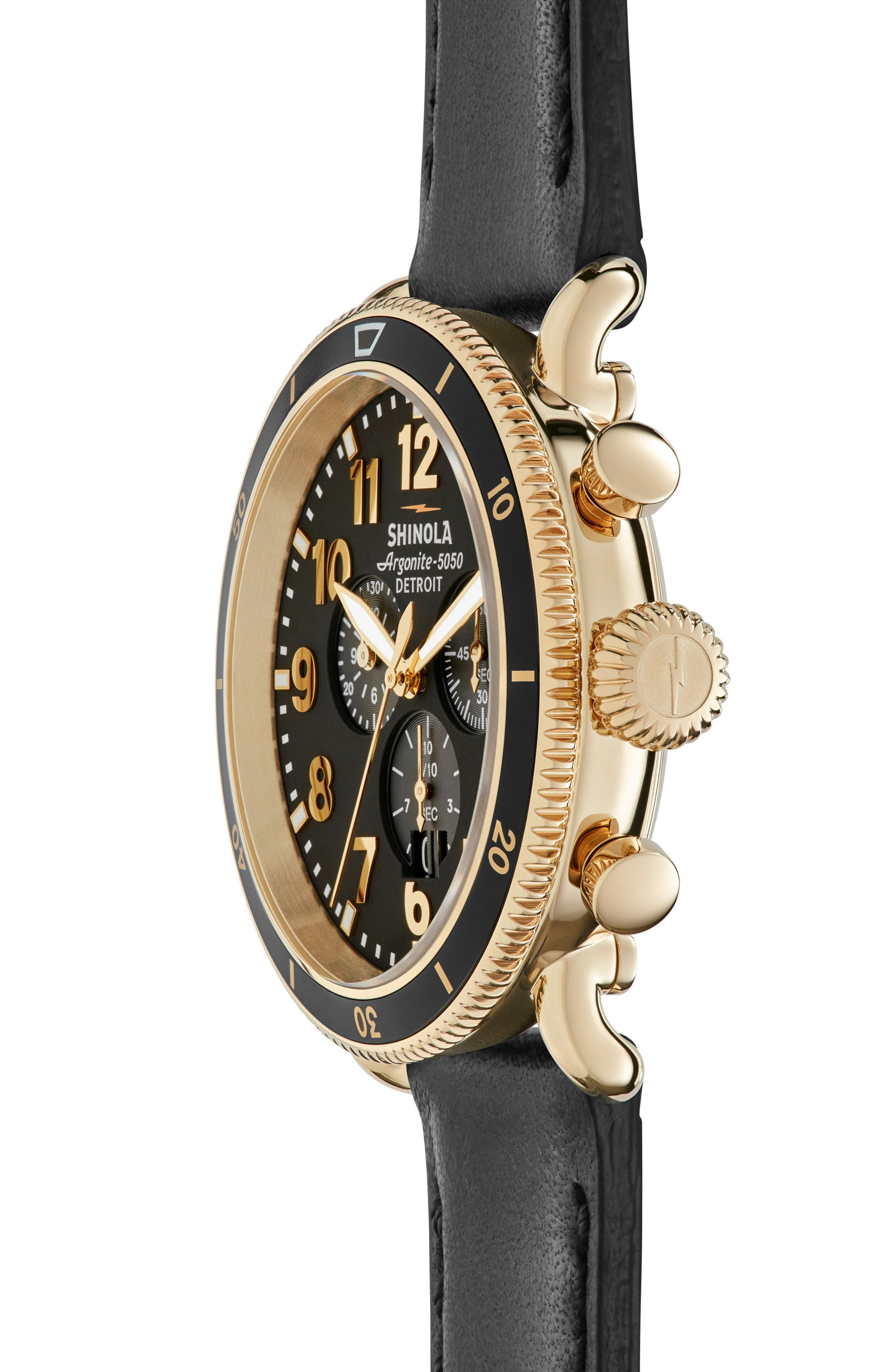 The Runwell Sport Chronograph Watch, 48mm,                             Alternate thumbnail 3, color,                             Black/ Gold