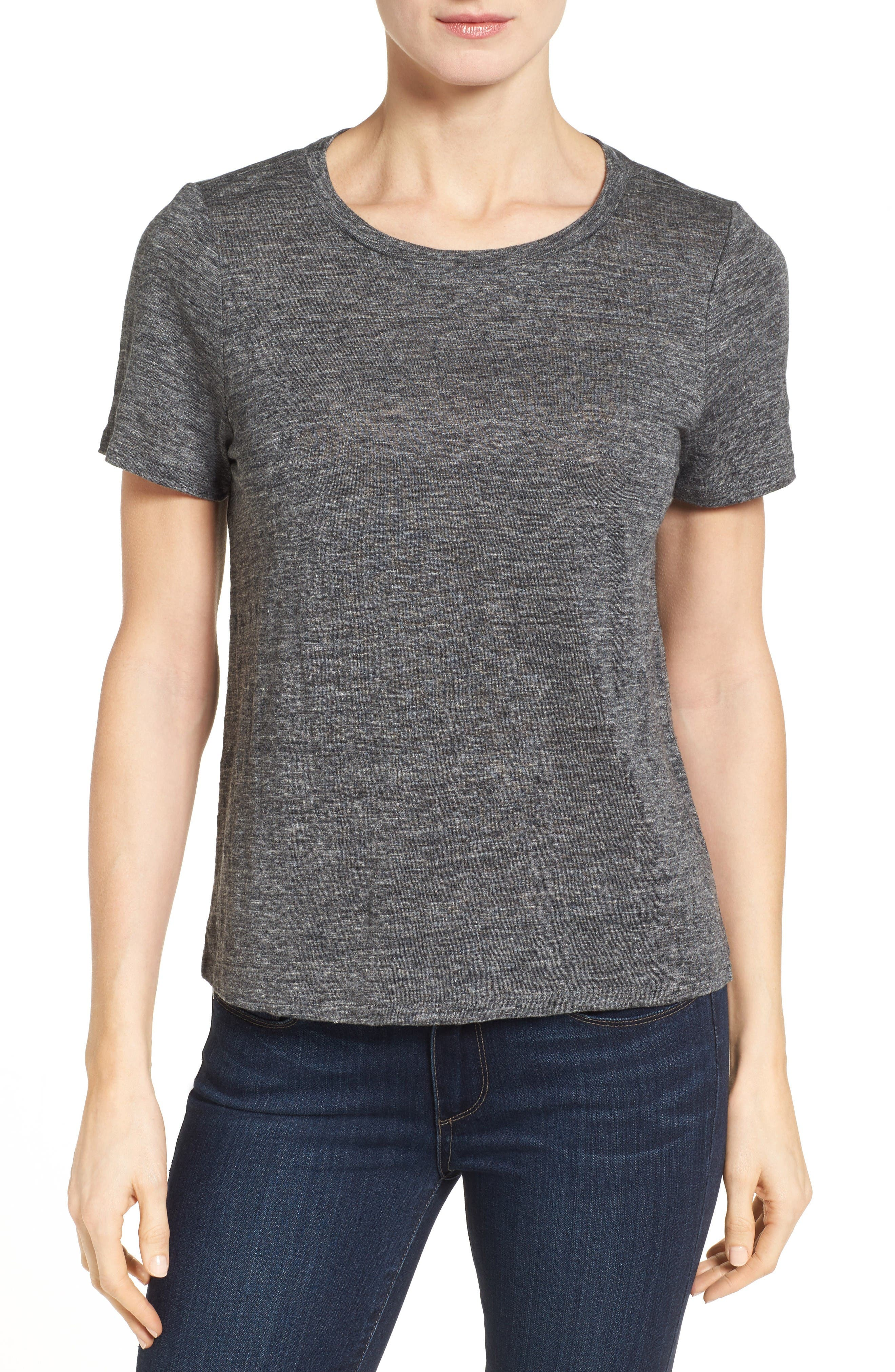 Alternate Image 1 Selected - Eileen Fisher Organic Linen Knit Tee
