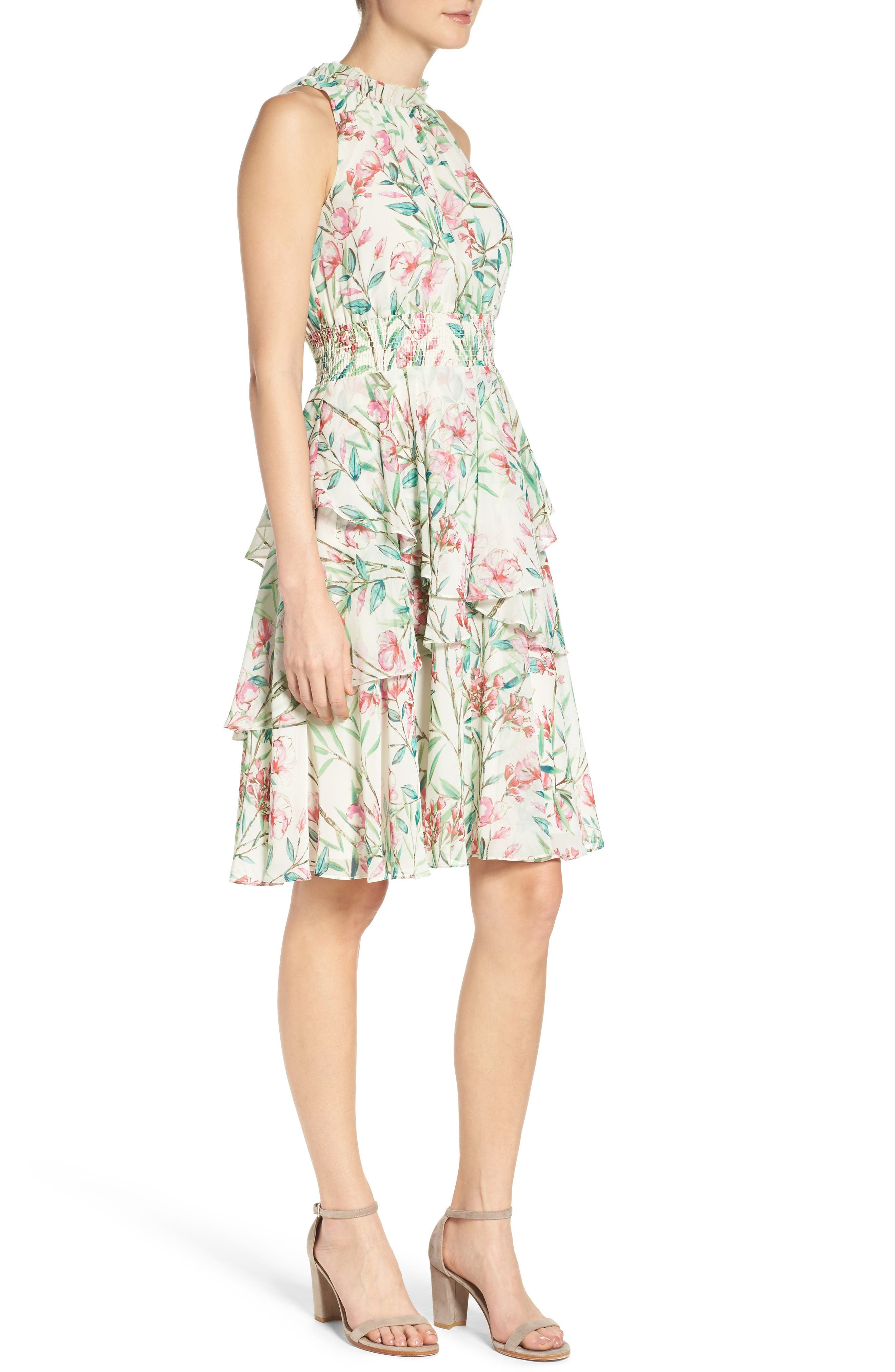 Chiffon Fit & Flare Dress,                             Alternate thumbnail 3, color,                             Ivory/ Pink/ Green