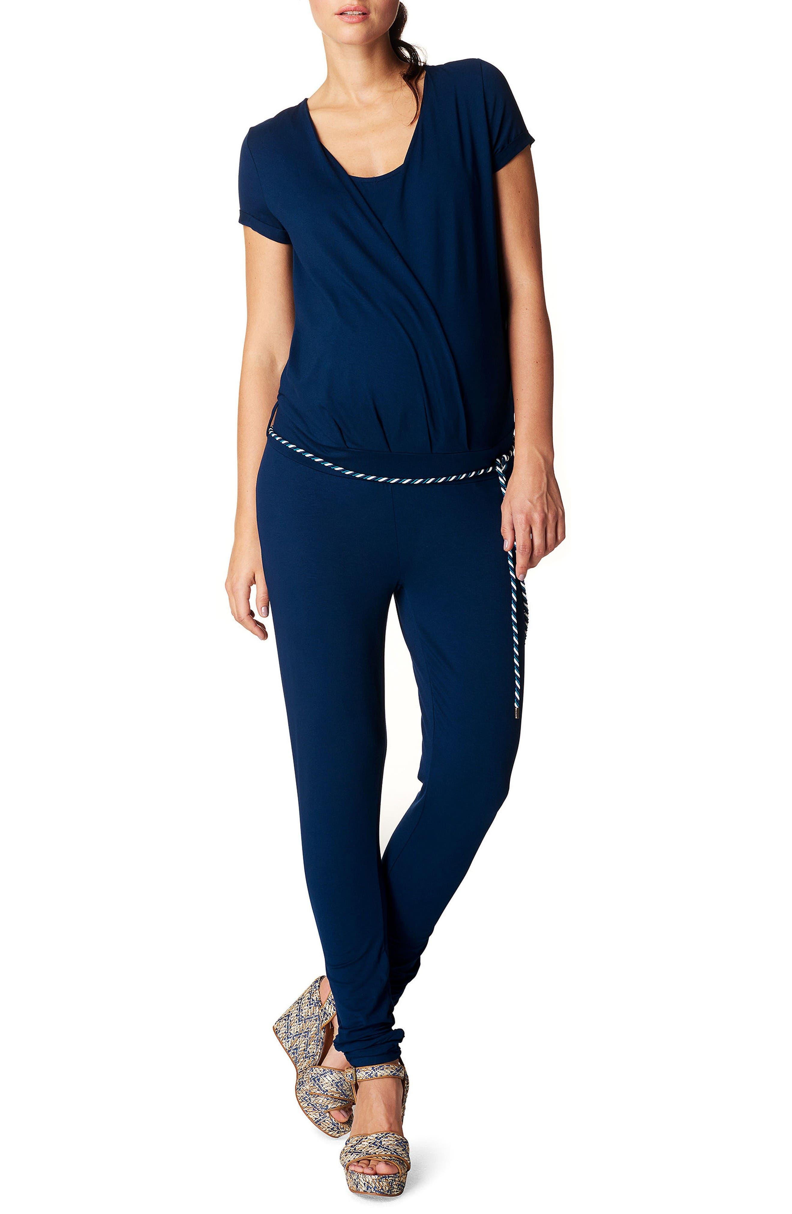 Chloe Maternity Jumpsuit,                         Main,                         color, Midnight Blue