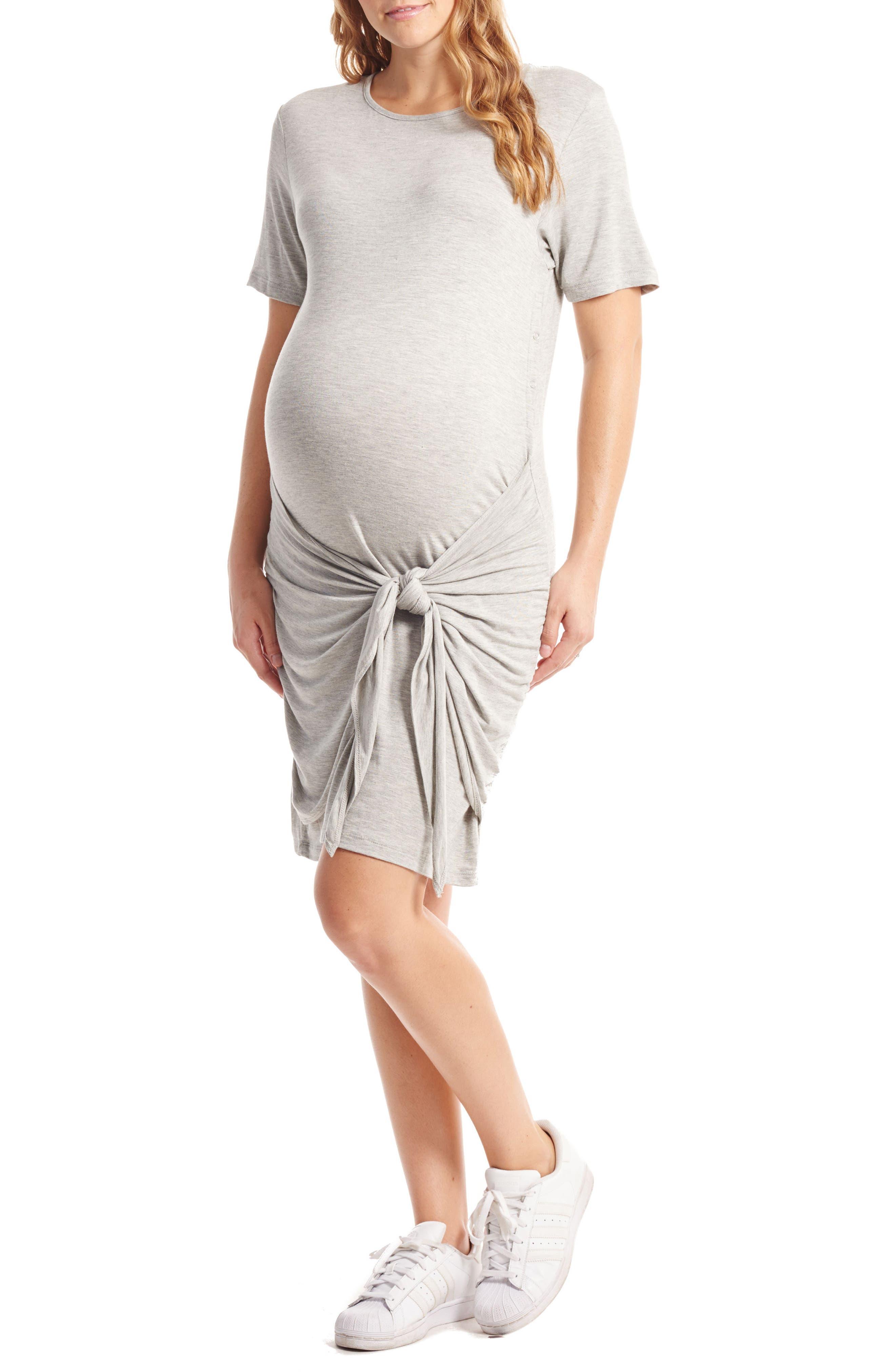 Everly Grey Maya Maternity/Nursing Tie Waist Dress