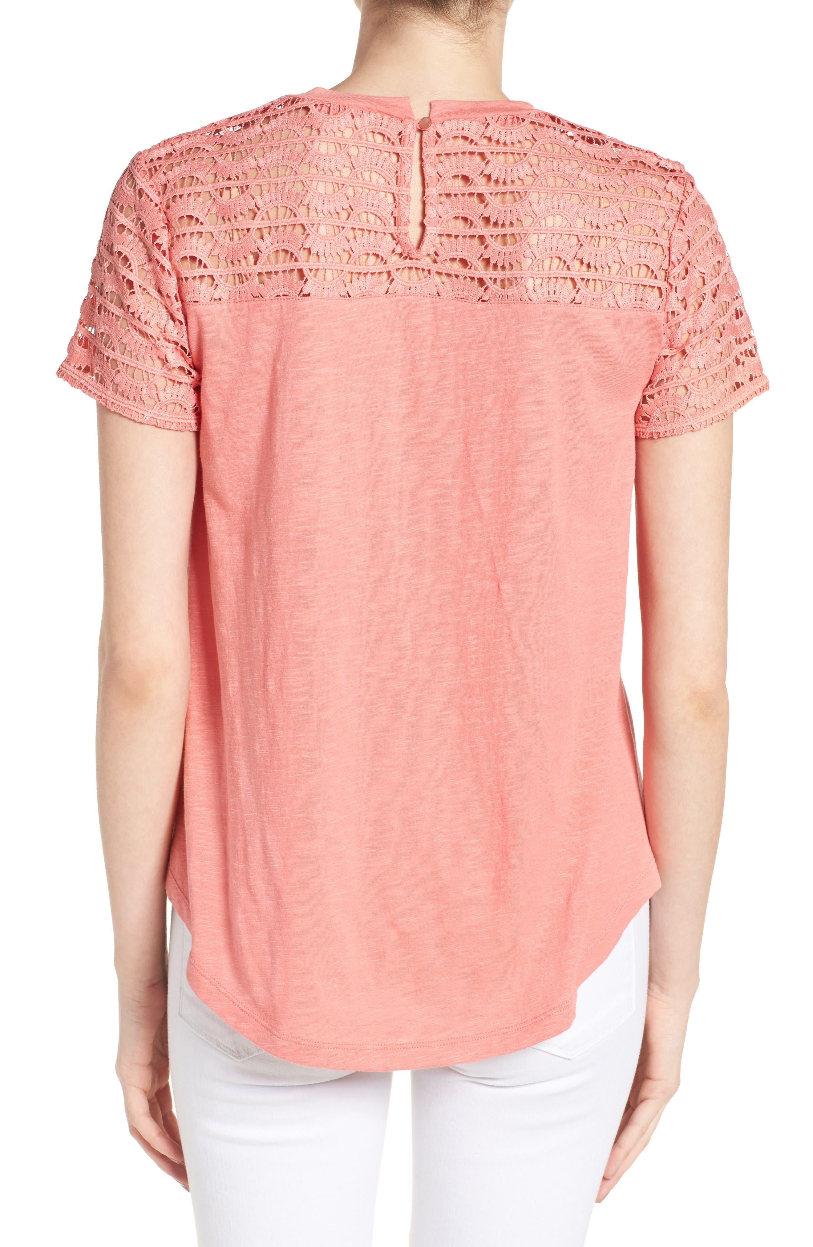 Alternate Image 2  - Caslon® Lace Yoke Knit Top (Regular and Petite)