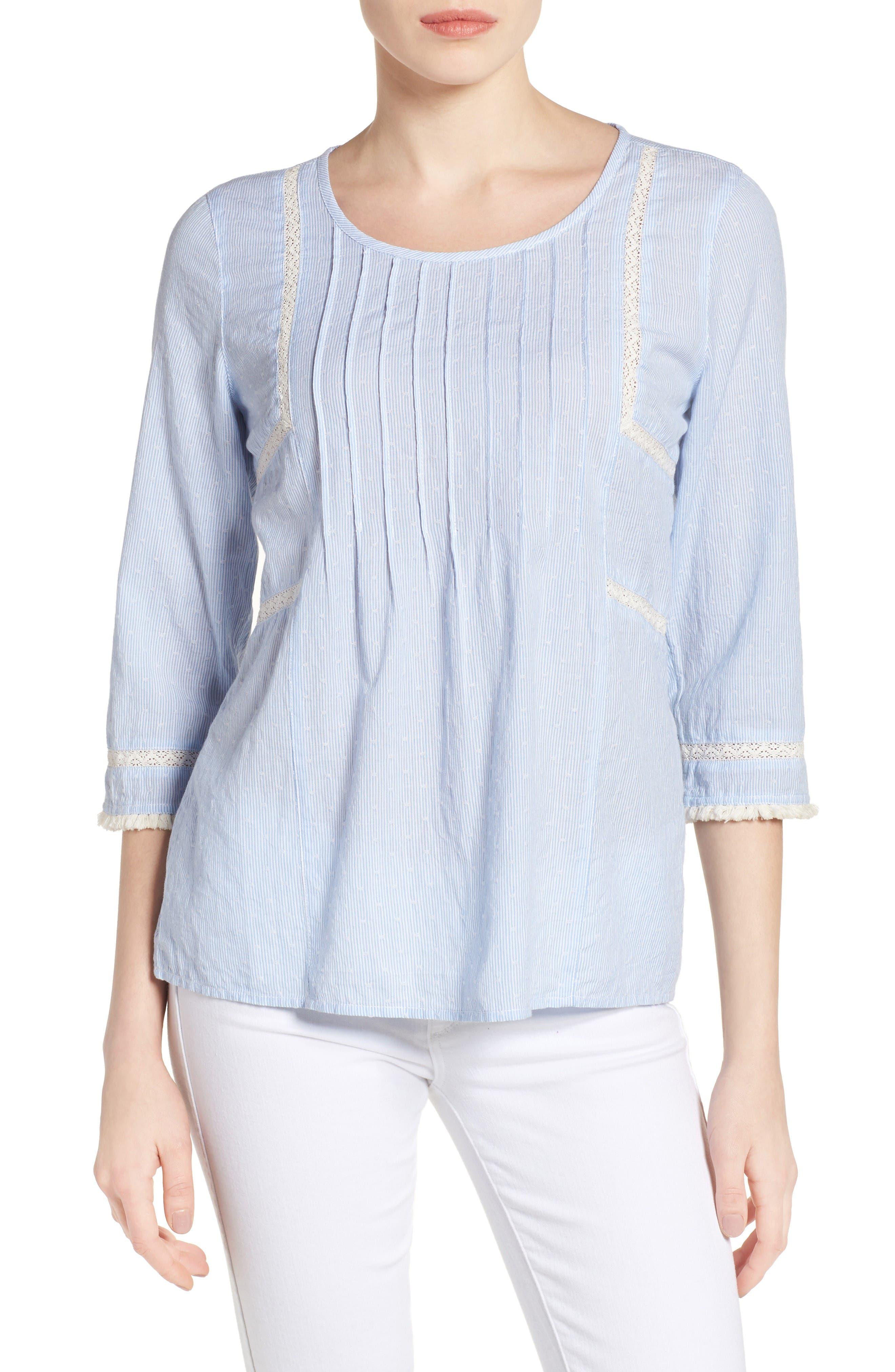 Pintuck Pleat Top,                         Main,                         color, Blue- White Stripe