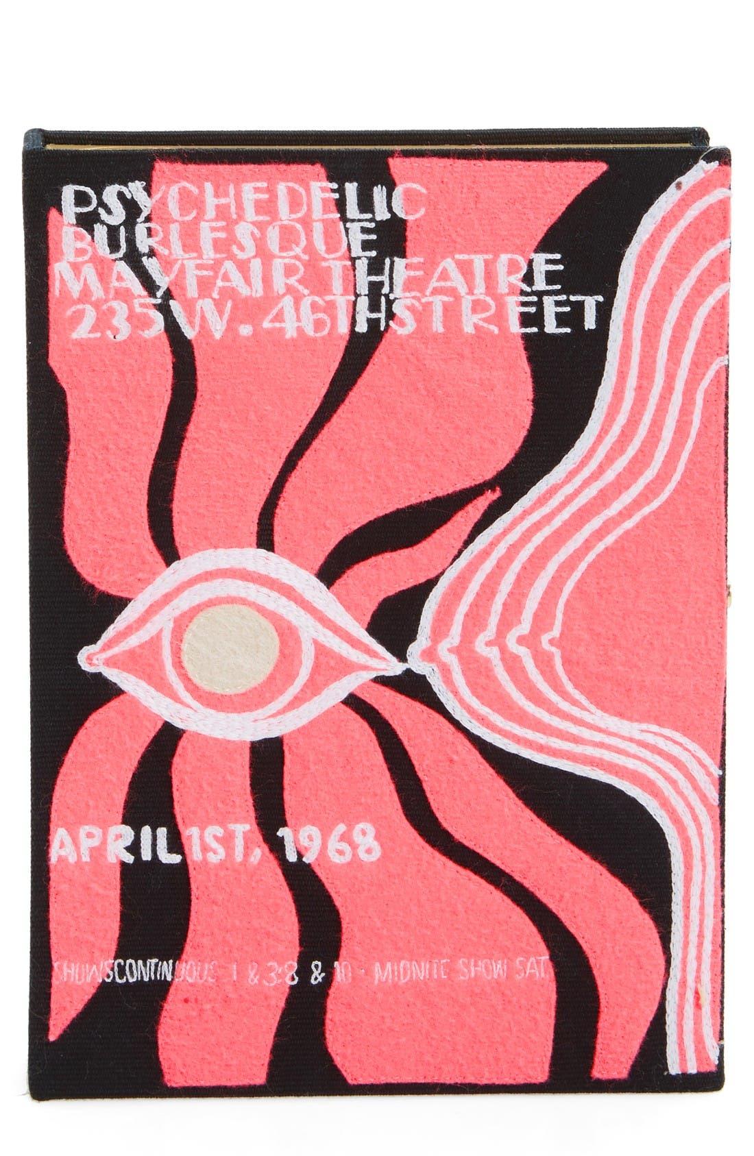 Psychedelic Burlesque Book Clutch,                             Main thumbnail 1, color,                             Black