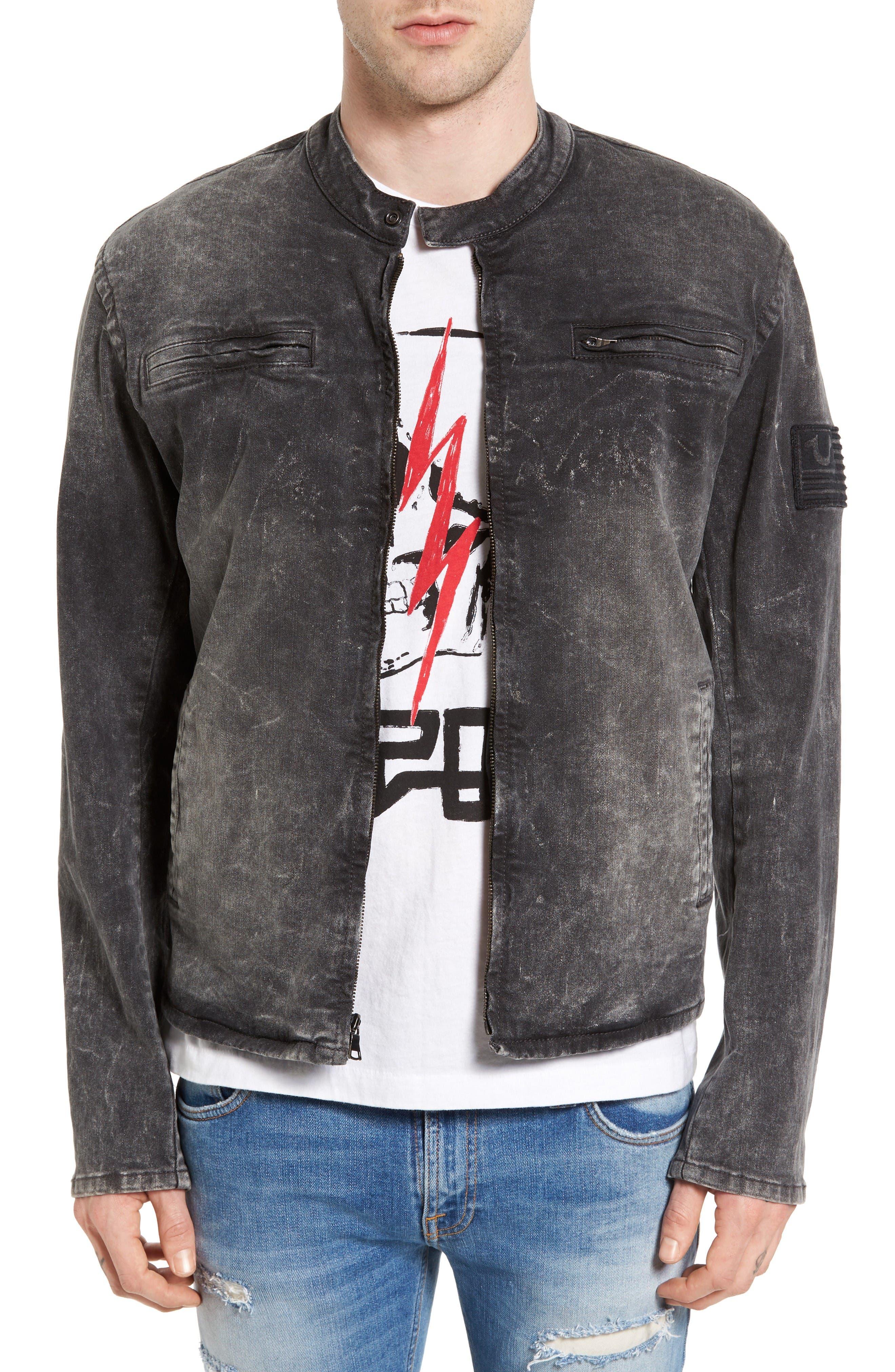 Denim Moto Jacket,                             Main thumbnail 1, color,                             Dii Black
