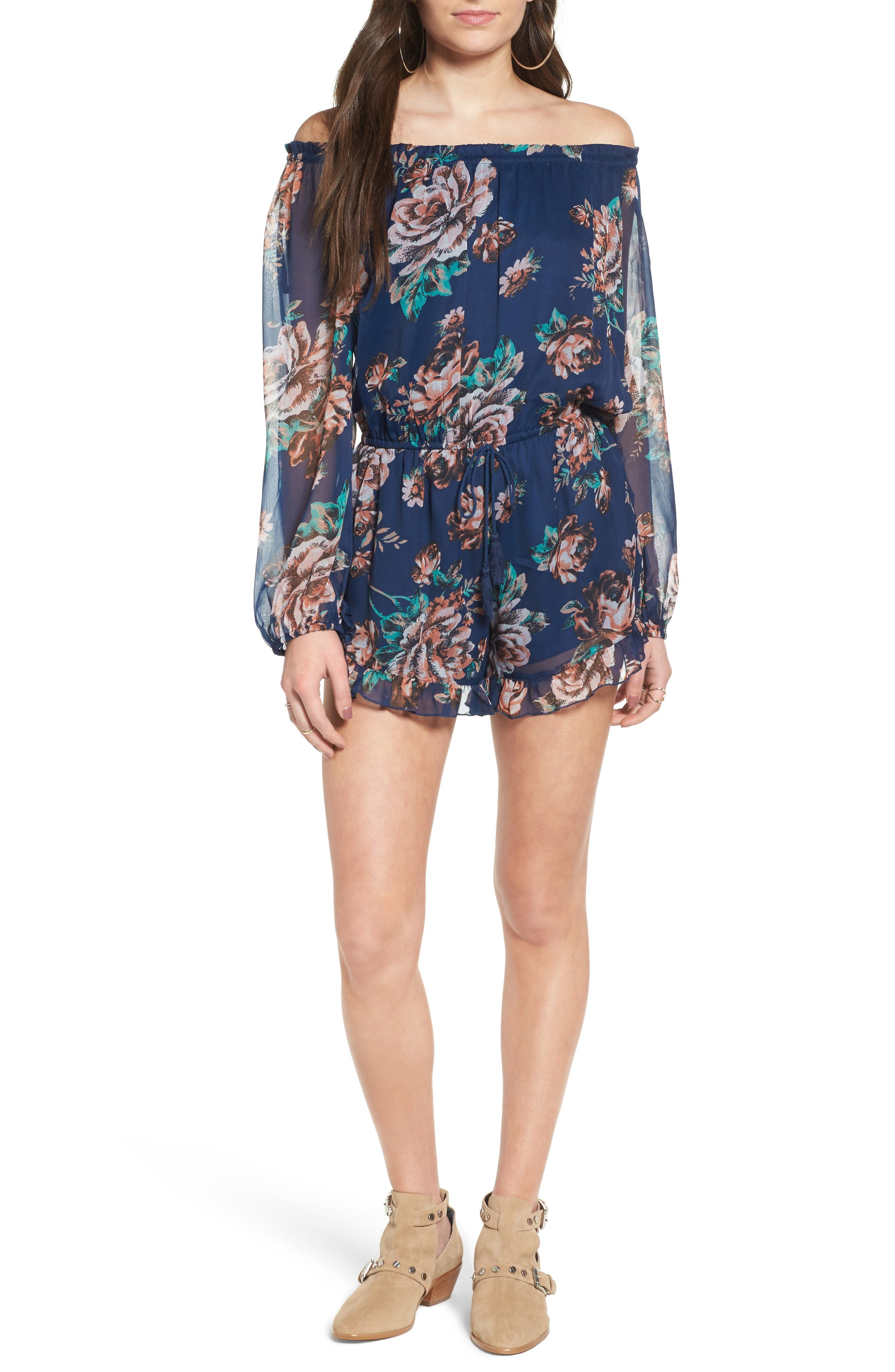 Main Image - Band of Gypsies Off the Shoulder Romper