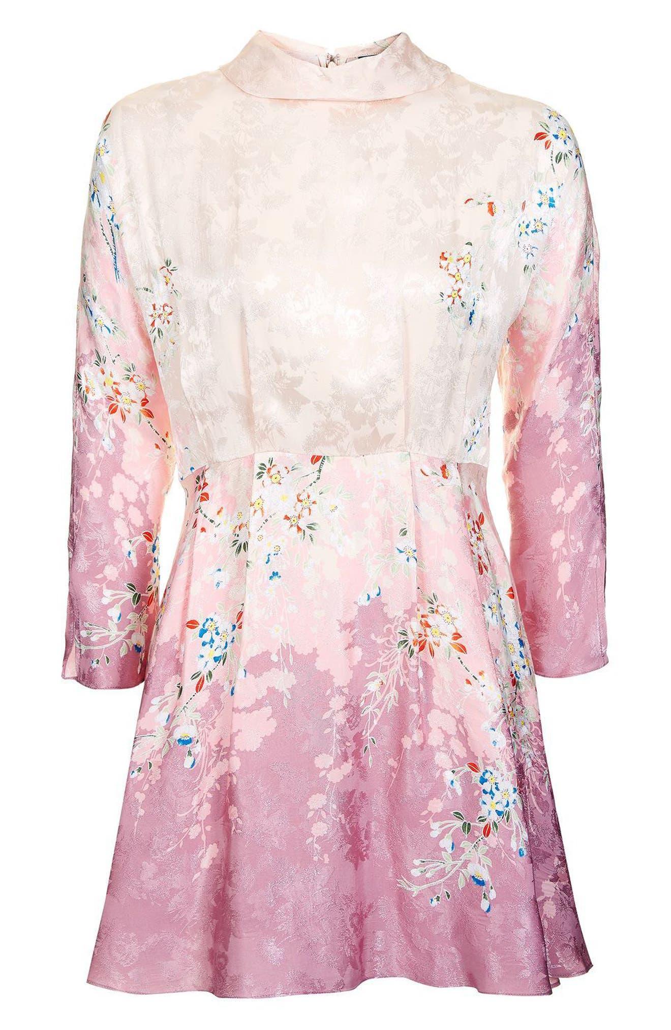 Alternate Image 4  - Topshop Jacquard Floral Print Dress