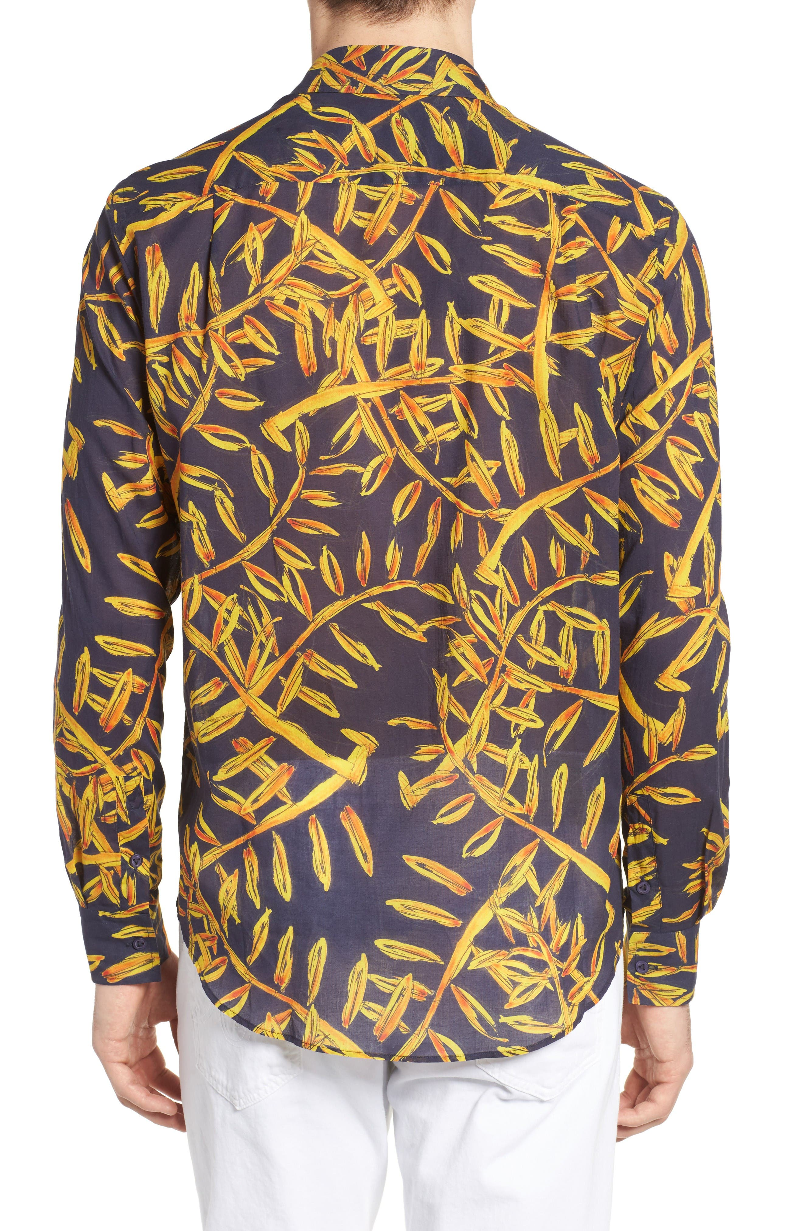 Vilbrequin Gold Palms Voile Sport Shirt,                             Alternate thumbnail 3, color,                             Navy Blue