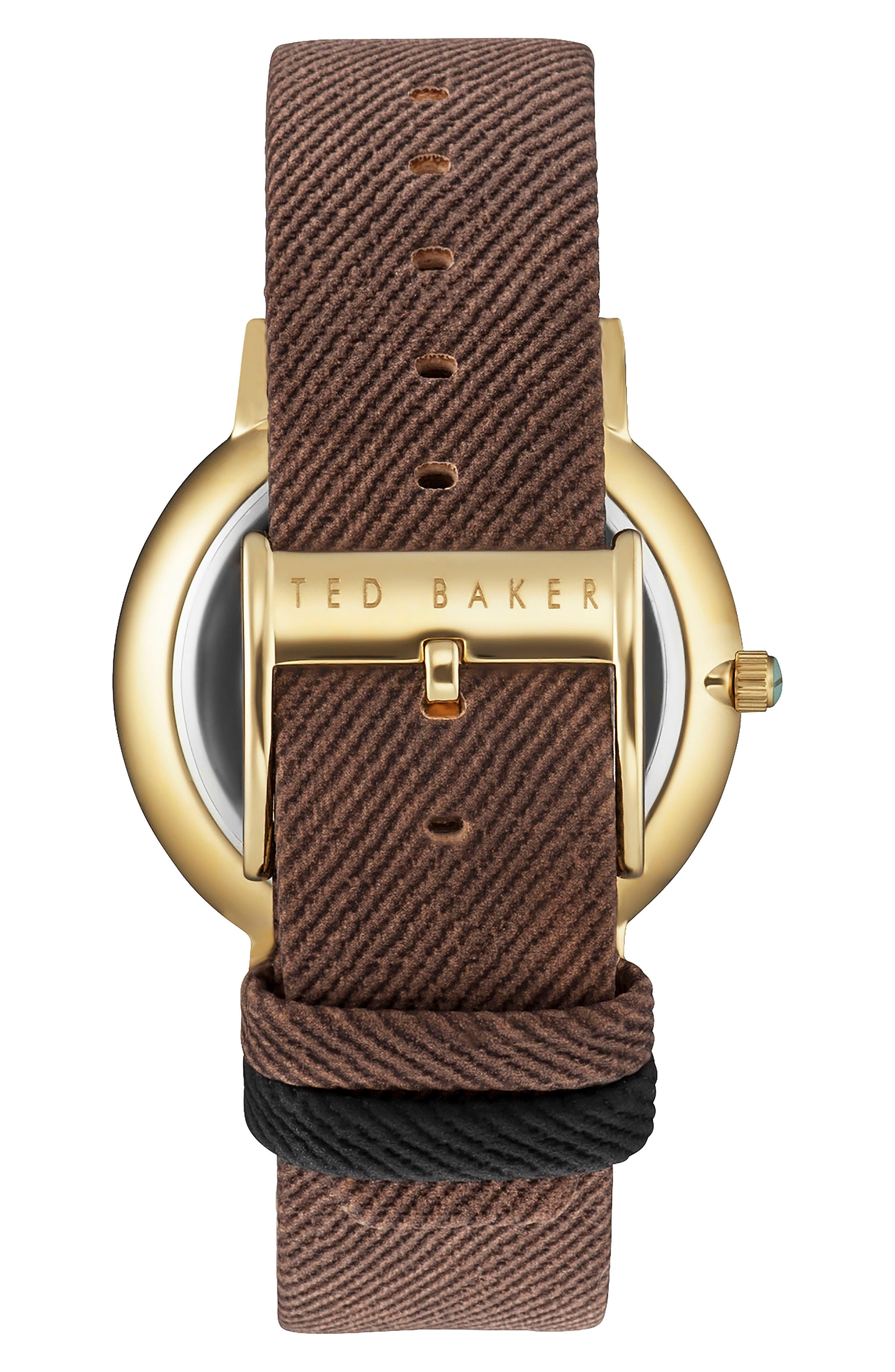 Multifunction Textured Canvas Strap Watch, 42mm,                             Alternate thumbnail 2, color,                             Silver/ Brown