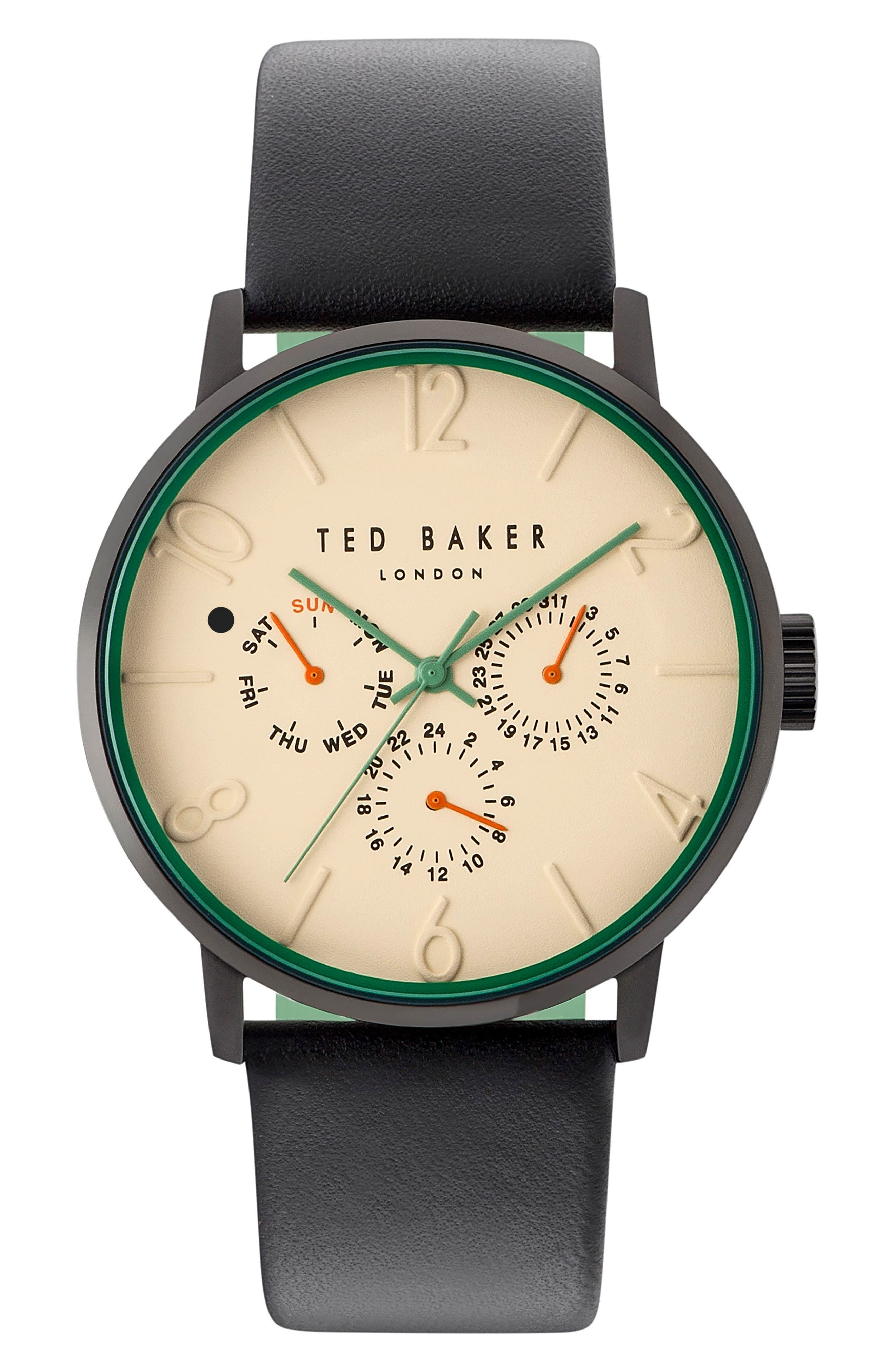 Main Image - Ted Baker London James Multifunction Leather Strap Watch, 42mm