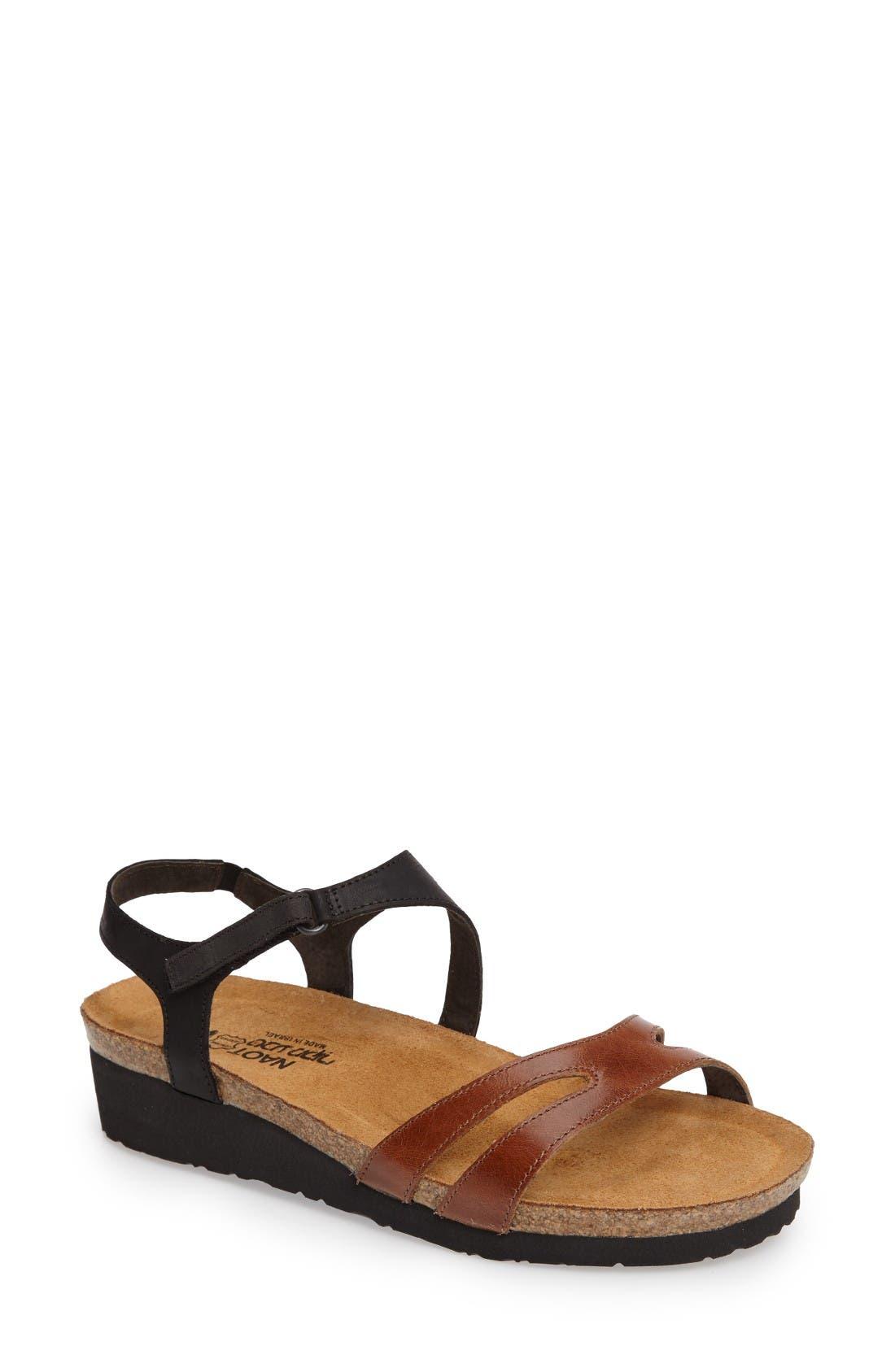 Janis Sandal,                             Main thumbnail 1, color,                             Brown/ Black Leather
