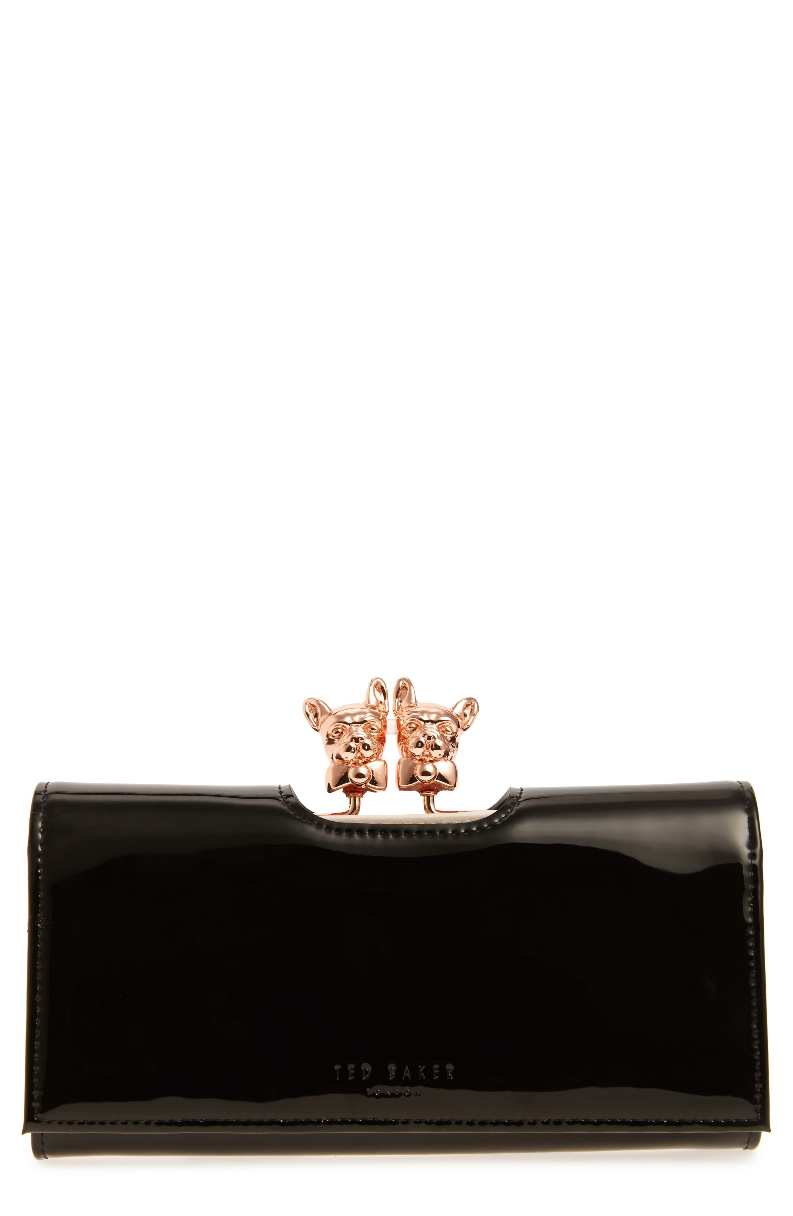 Alternate Image 1 Selected - Ted Baker London French Bulldog Patent Leather Matinee Wallet
