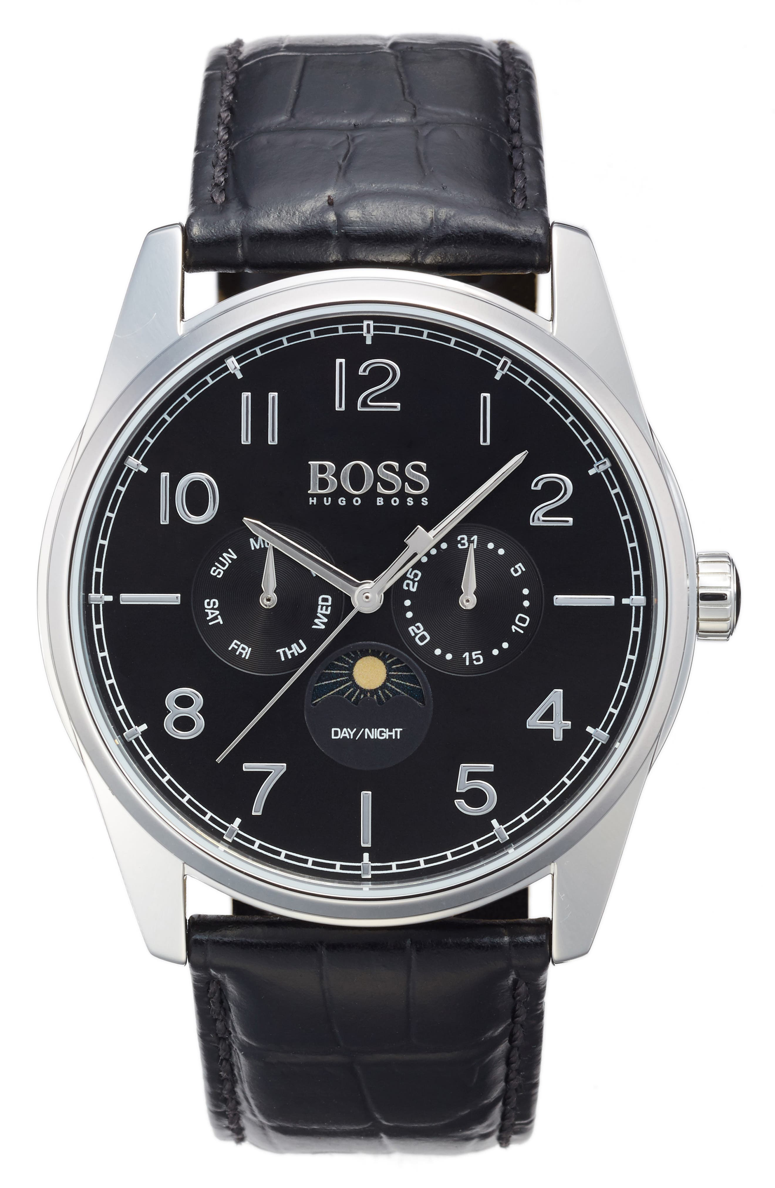 Heritage Chronograph Leather Strap Watch, 43mm,                         Main,                         color, Black/ Black