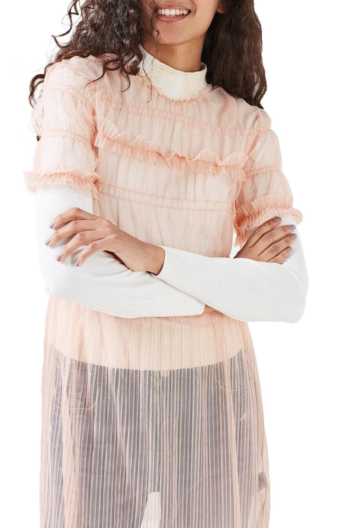 Alternate Image 1 Selected - Topshop Tulle Tunic