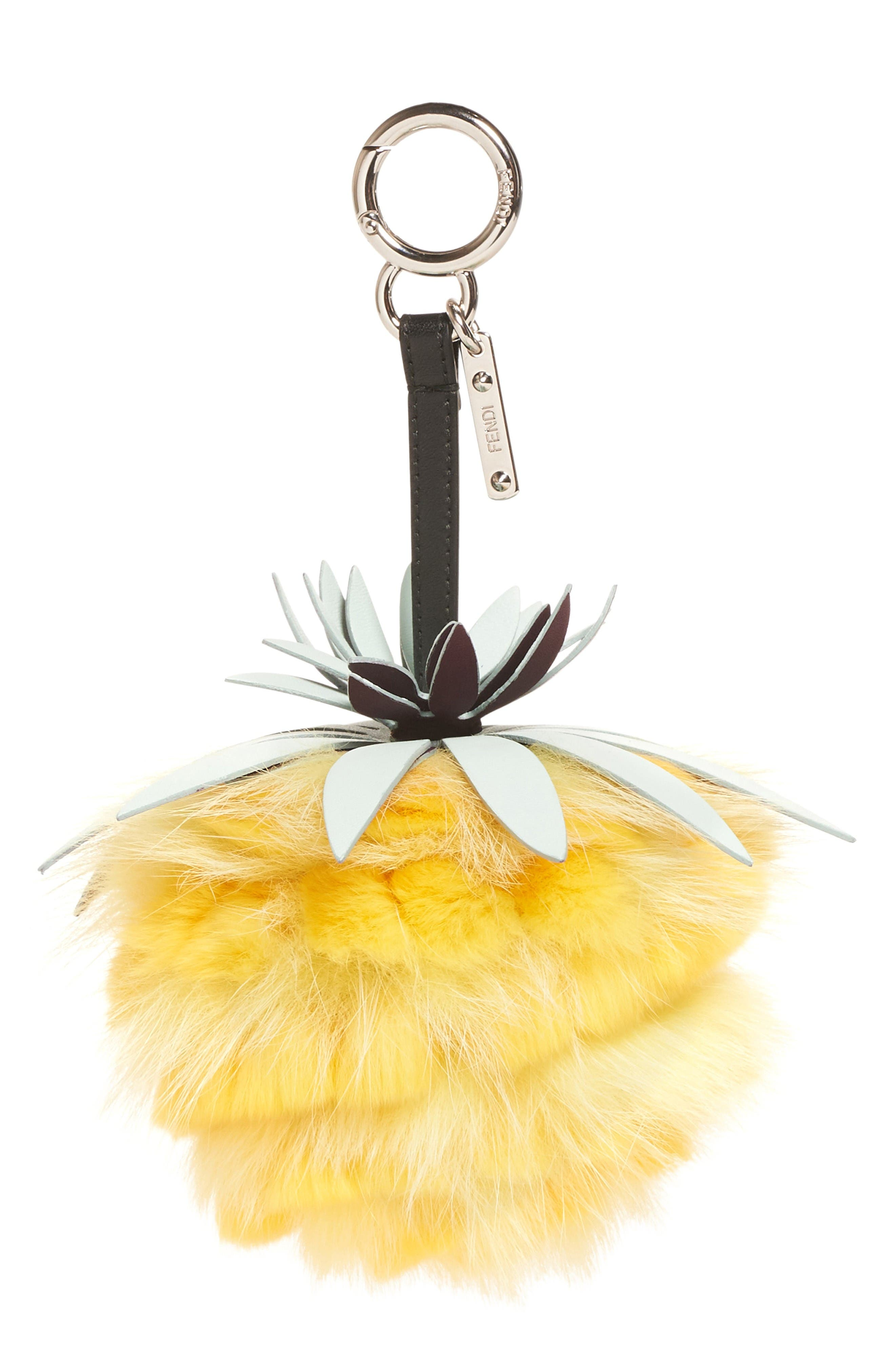 Alternate Image 1 Selected - Fendi Pineapple Genuine Fox & Rabbit Fur Bag Charm