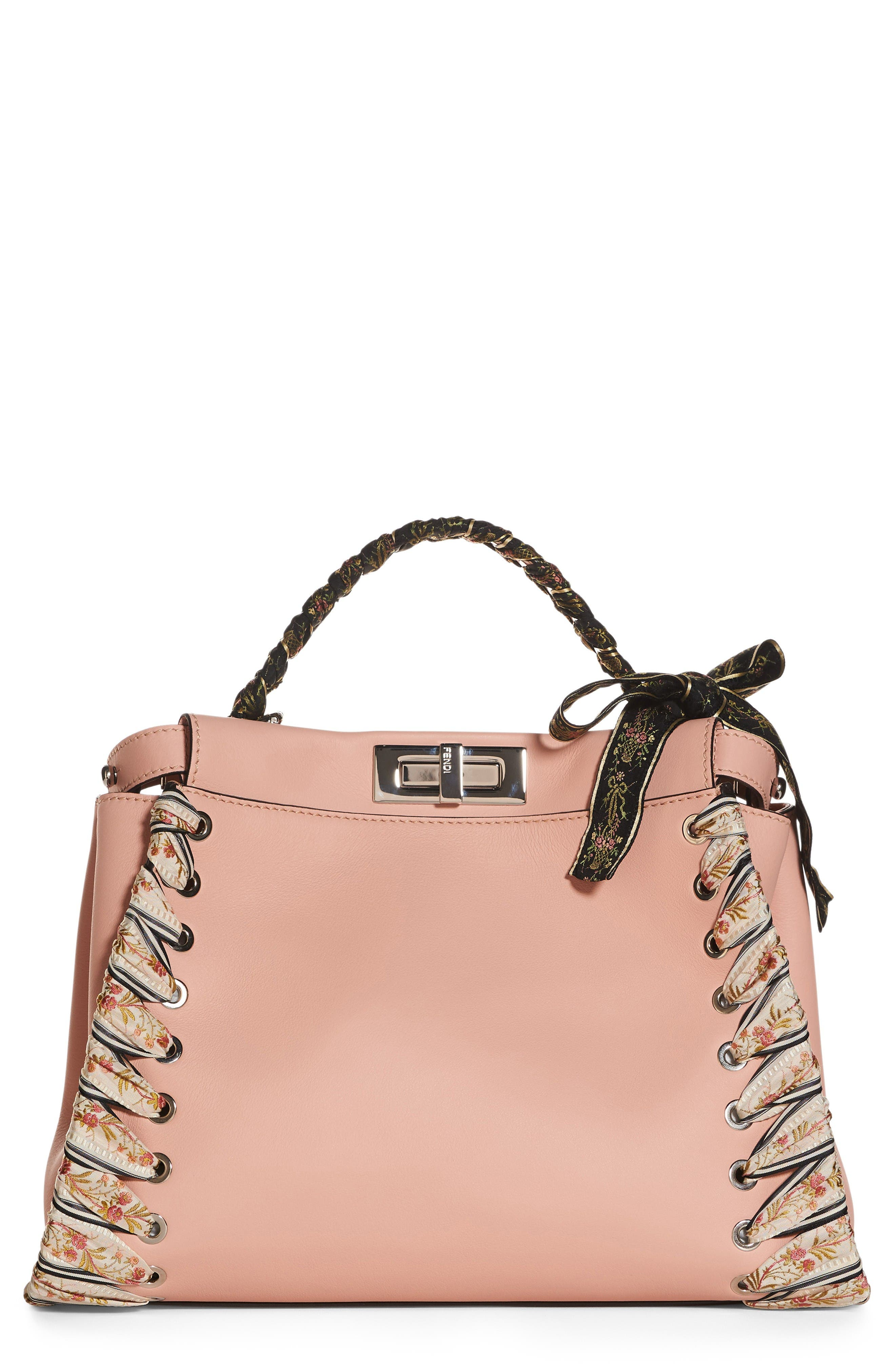 Medium Peekaboo Whipstitched Leather Satchel,                         Main,                         color, Baby Pink
