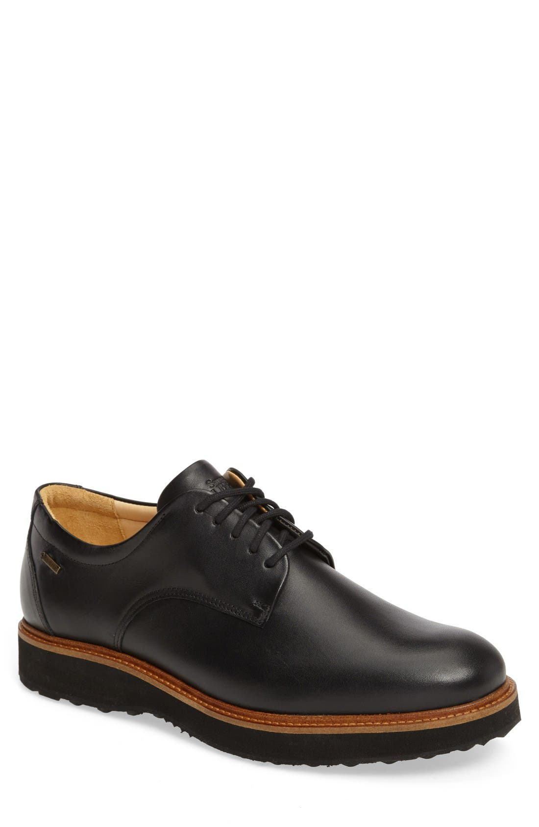 Rainy Day Founder Plain Toe Derby,                         Main,                         color, Black Leather