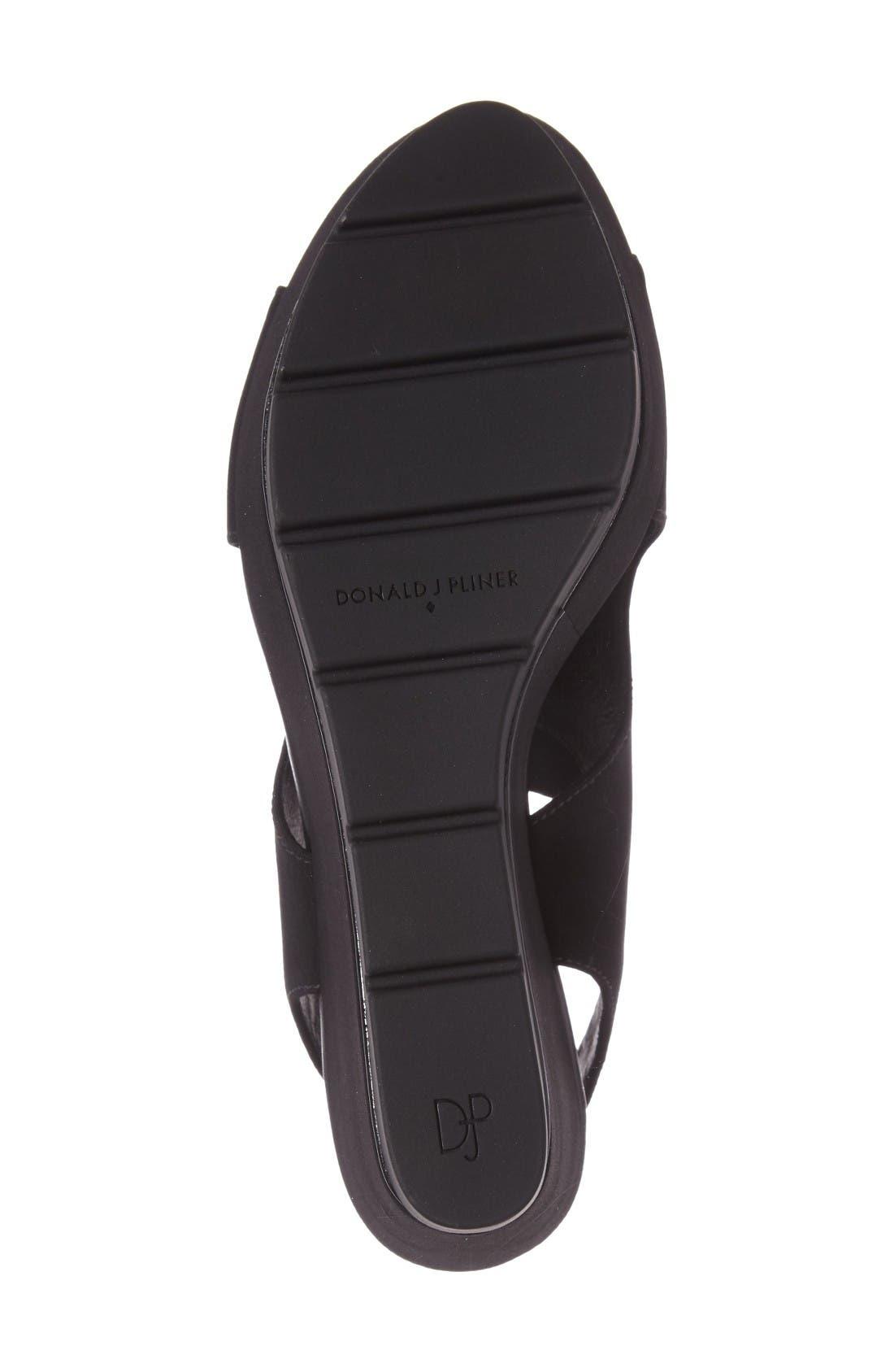 Donald J Pliner Fonda Platform Wedge Sandal,                             Alternate thumbnail 4, color,                             Black Crepe