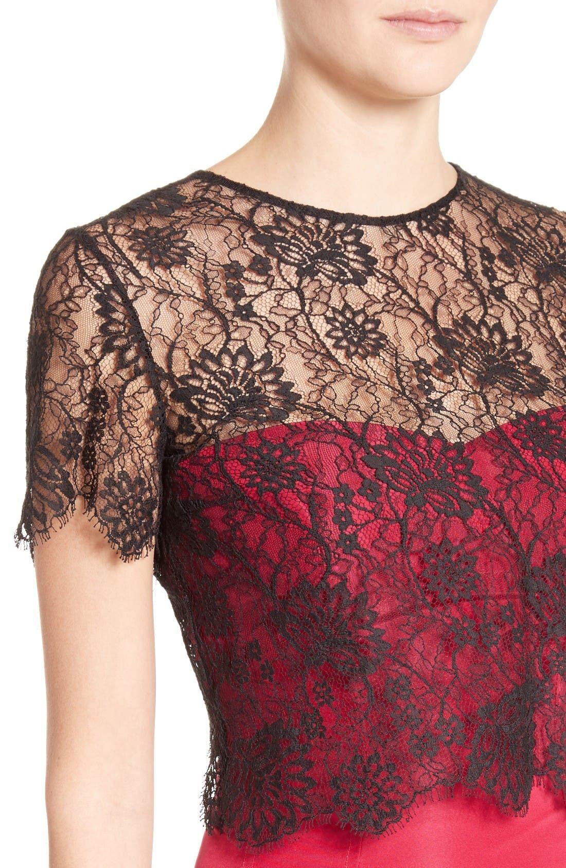 Alternate Image 6  - Oscar de la Renta Tie Back Lace Bolero