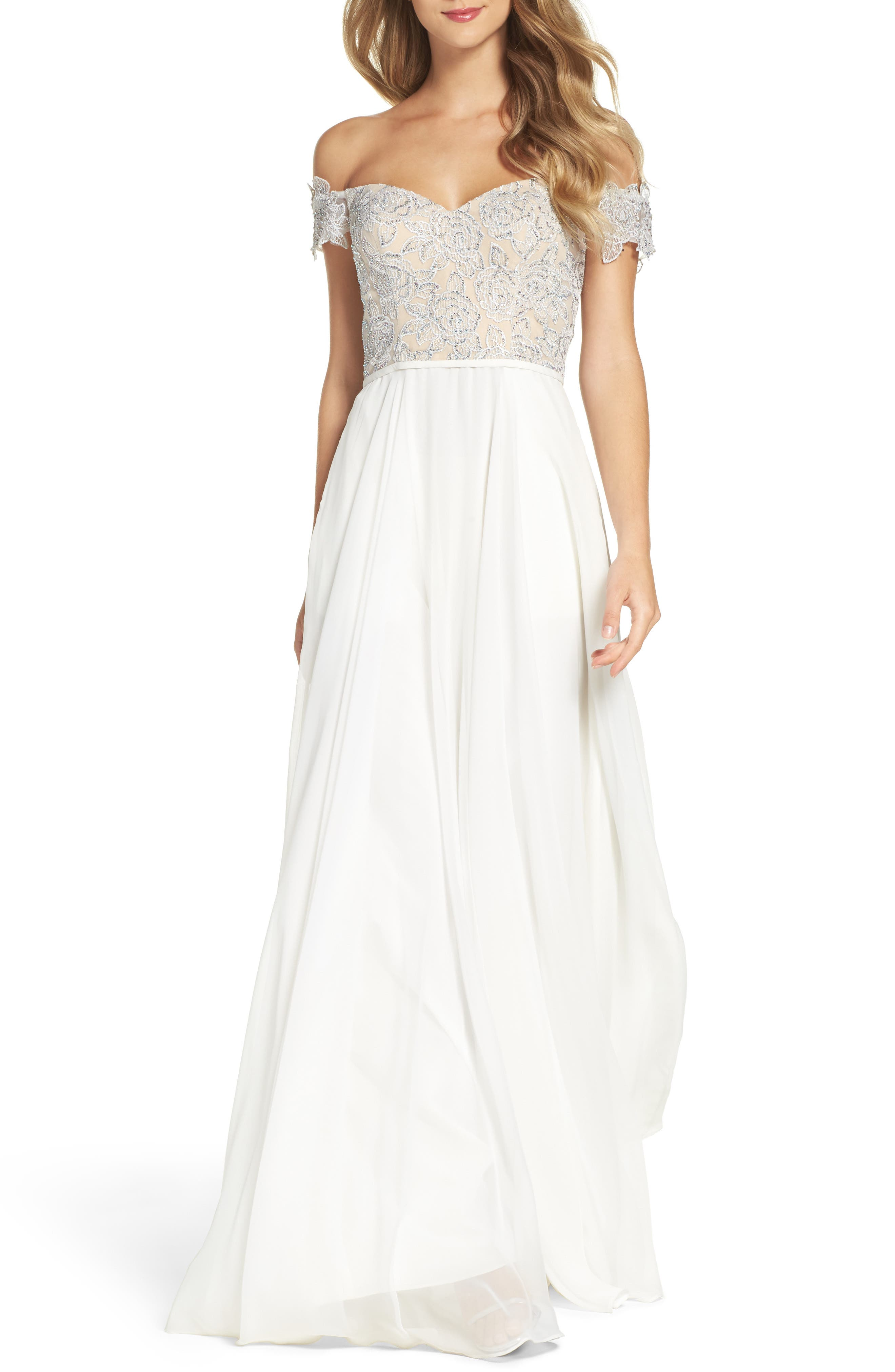 Off the Shoulder Ballgown,                         Main,                         color, Ivory
