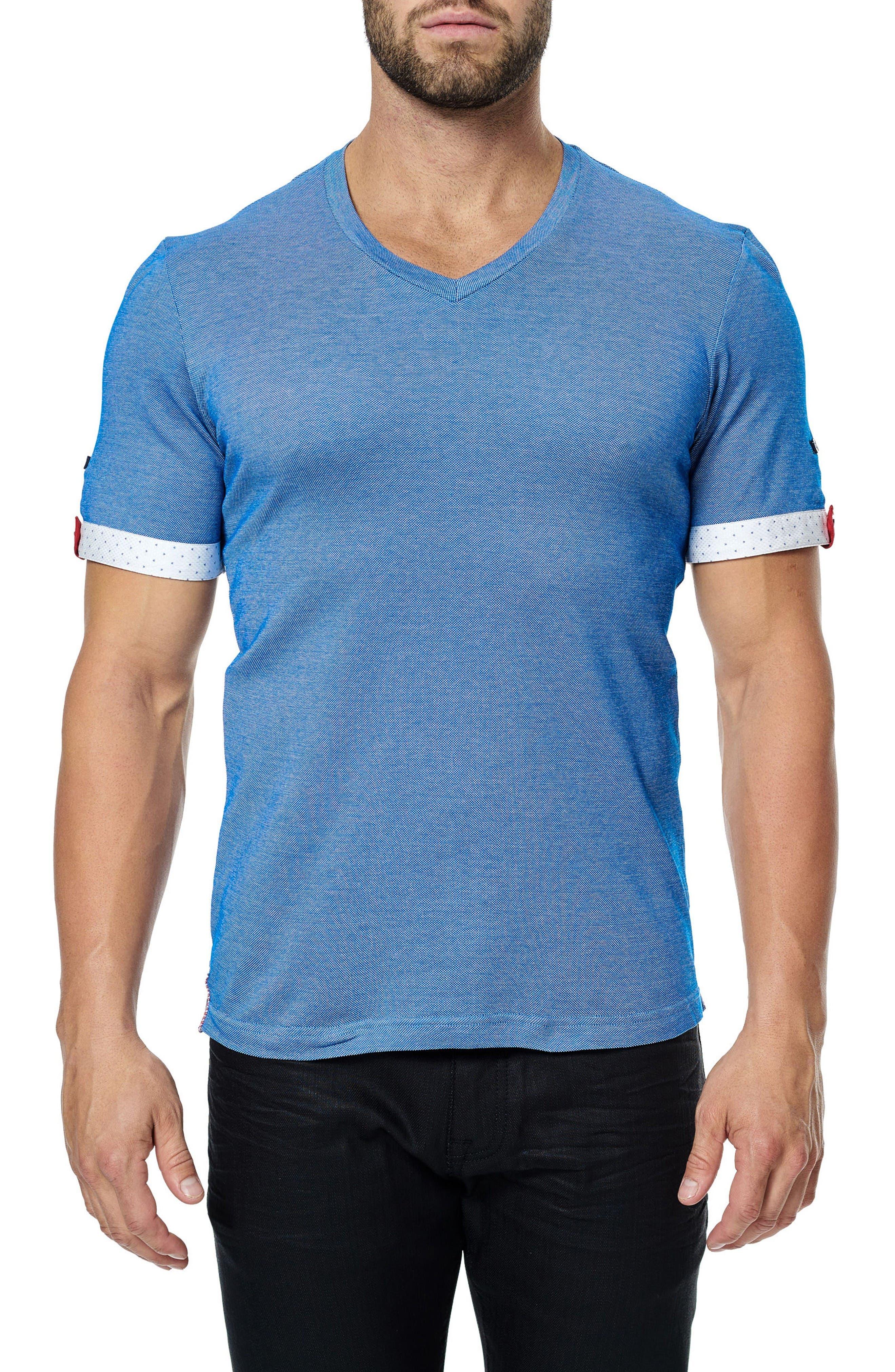 V-Neck Stretch T-Shirt,                         Main,                         color, Medium Blue
