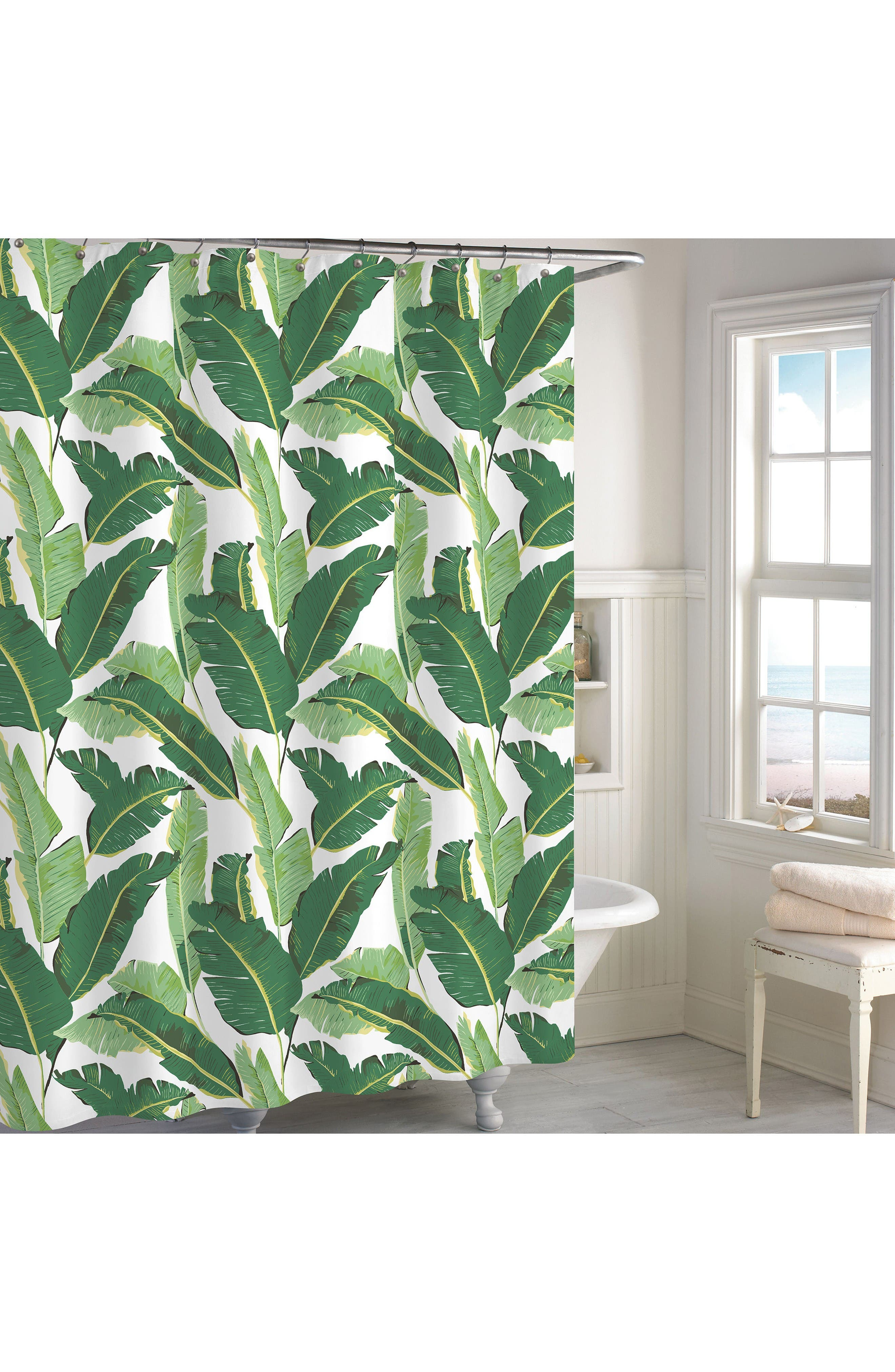 Miami Leaf Shower Curtain,                         Main,                         color, Green