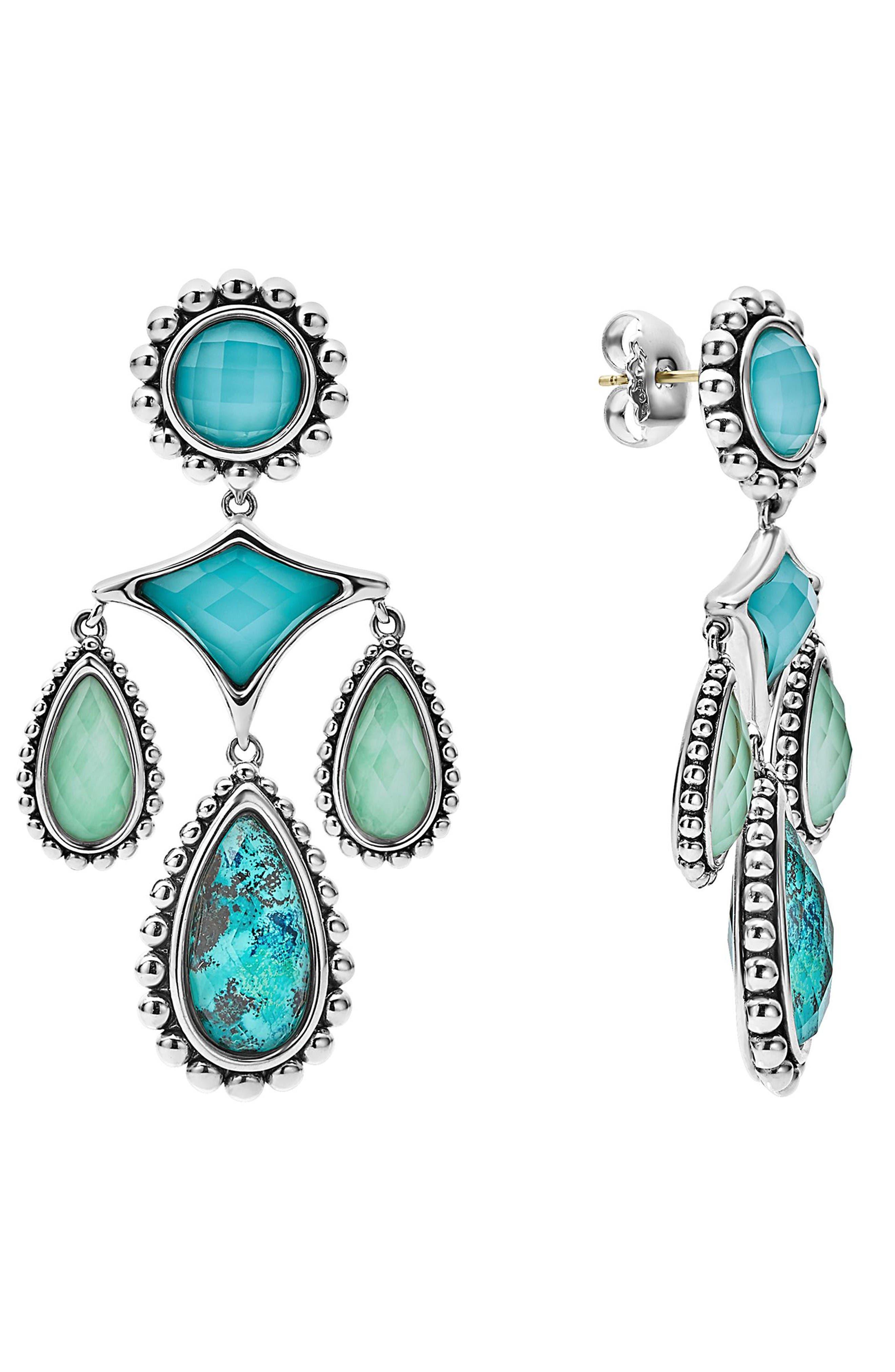 Maya Chandelier Earrings,                         Main,                         color, Chrysocolla