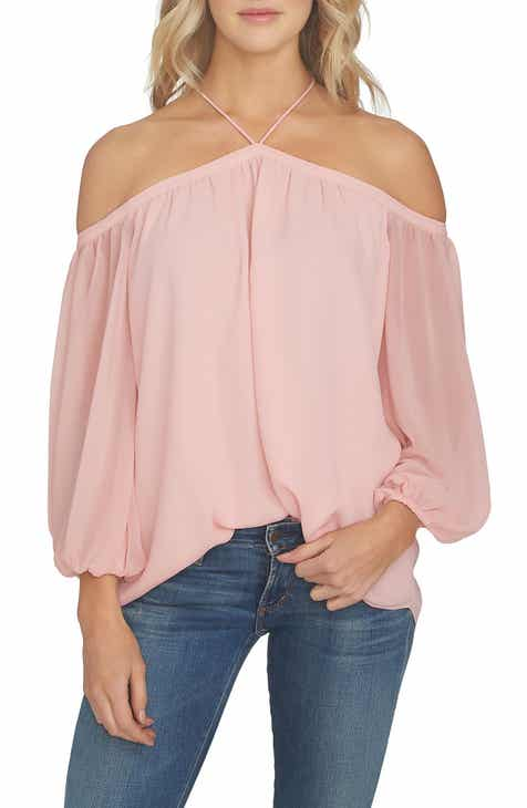 704630b9e86f05 1.STATE Off the Shoulder Sheer Chiffon Blouse