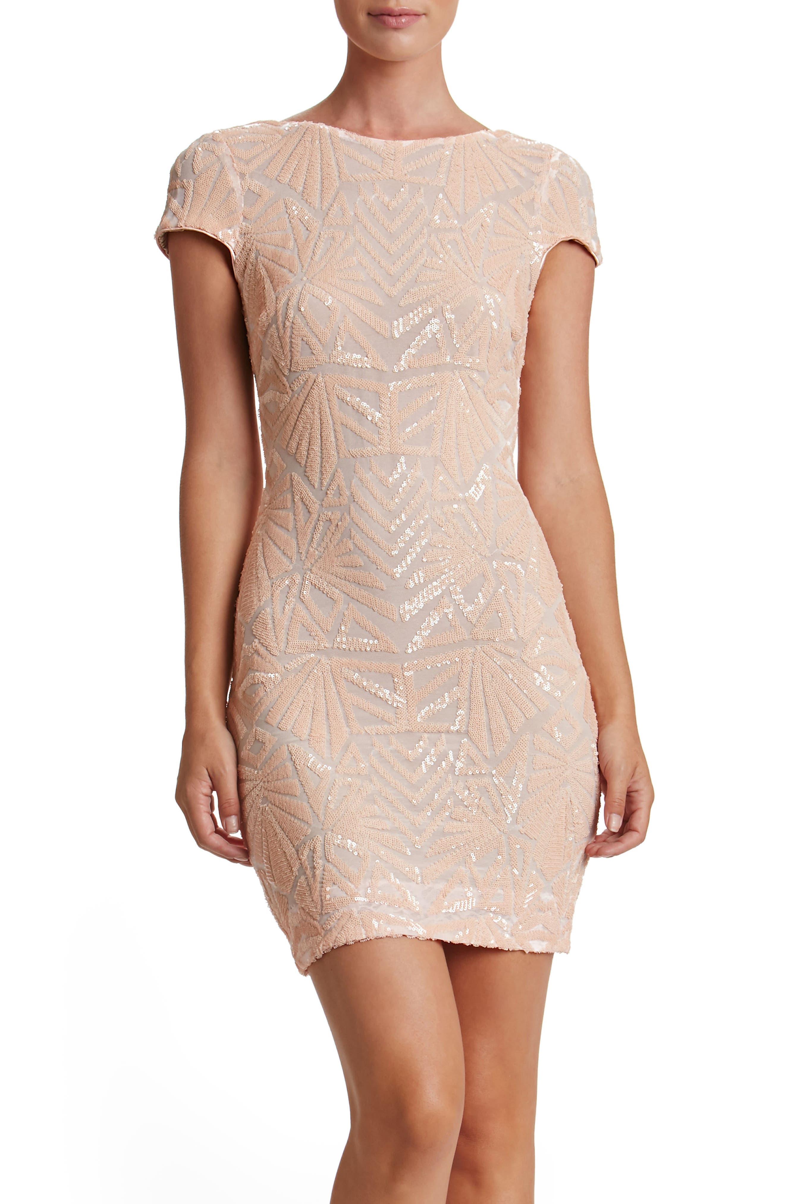 Dress the Population Tabitha Sequin Mesh Minidress