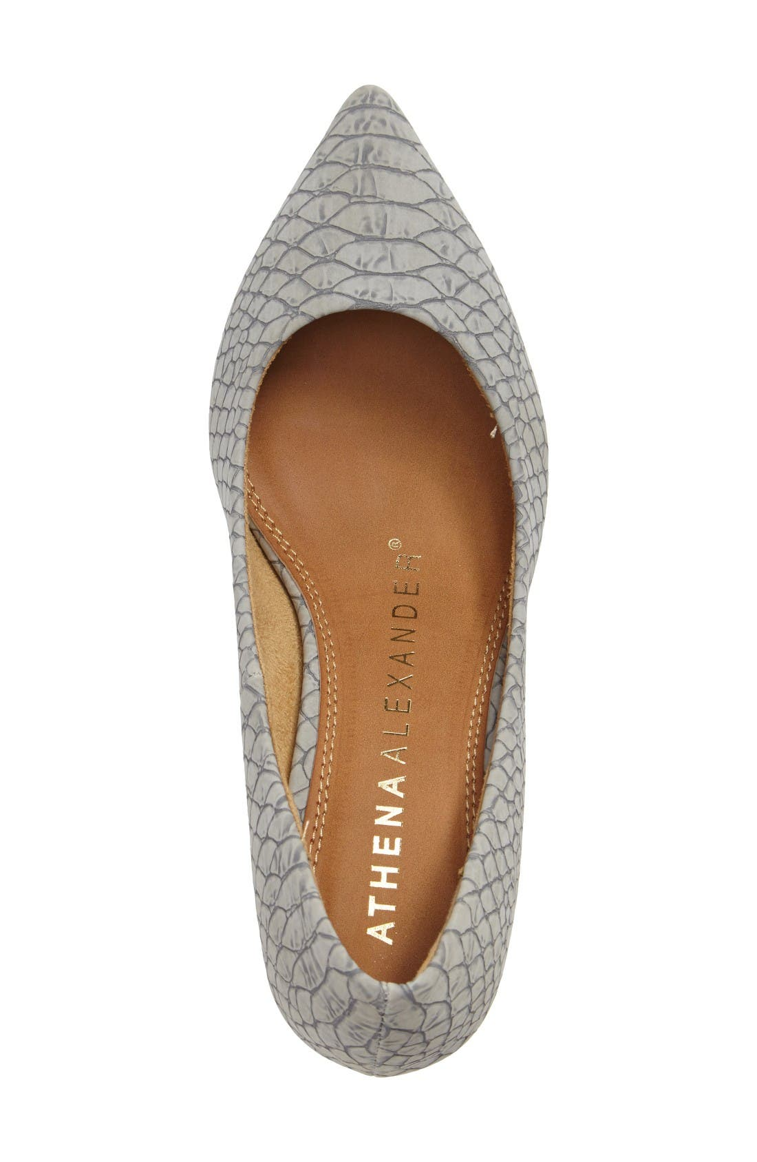 Tikka Pointy Toe Pump,                             Alternate thumbnail 3, color,                             Grey Faux Leather