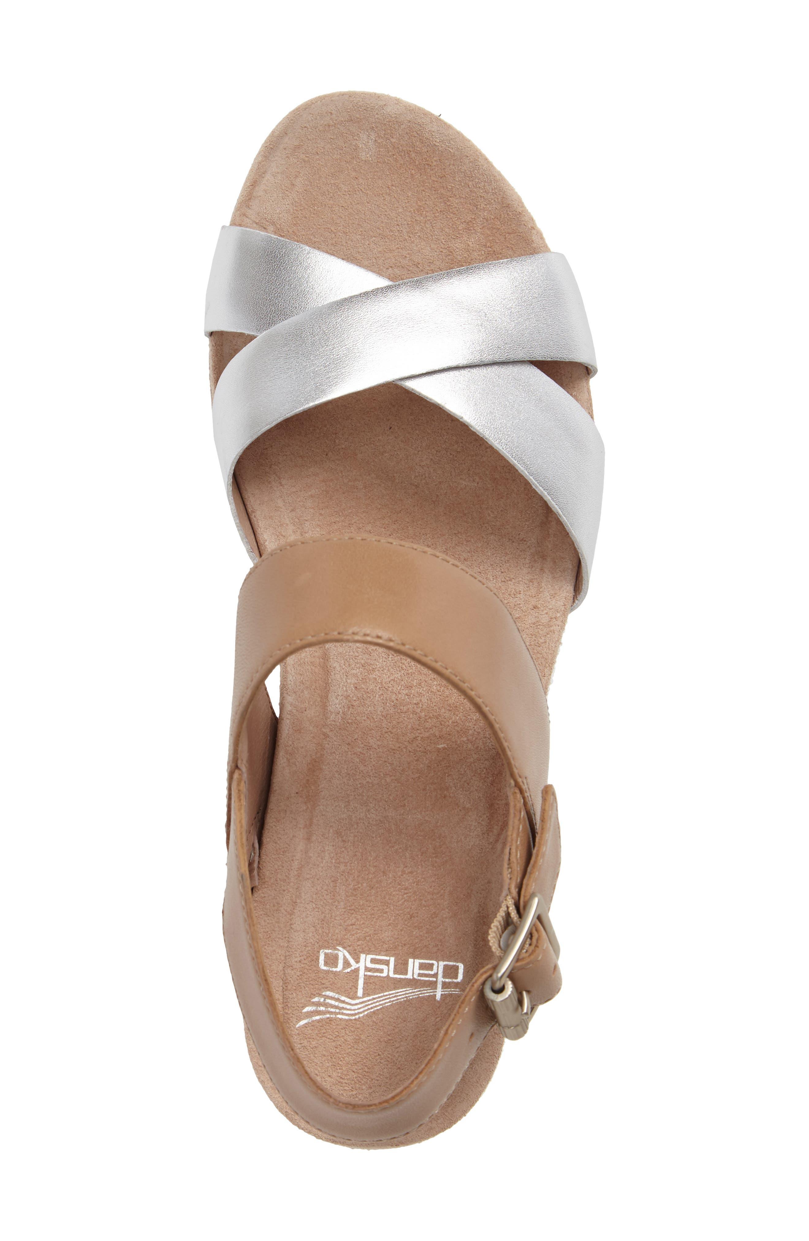 Stasia Platform Wedge Sandal,                             Alternate thumbnail 3, color,                             Sand/ Silver Leather