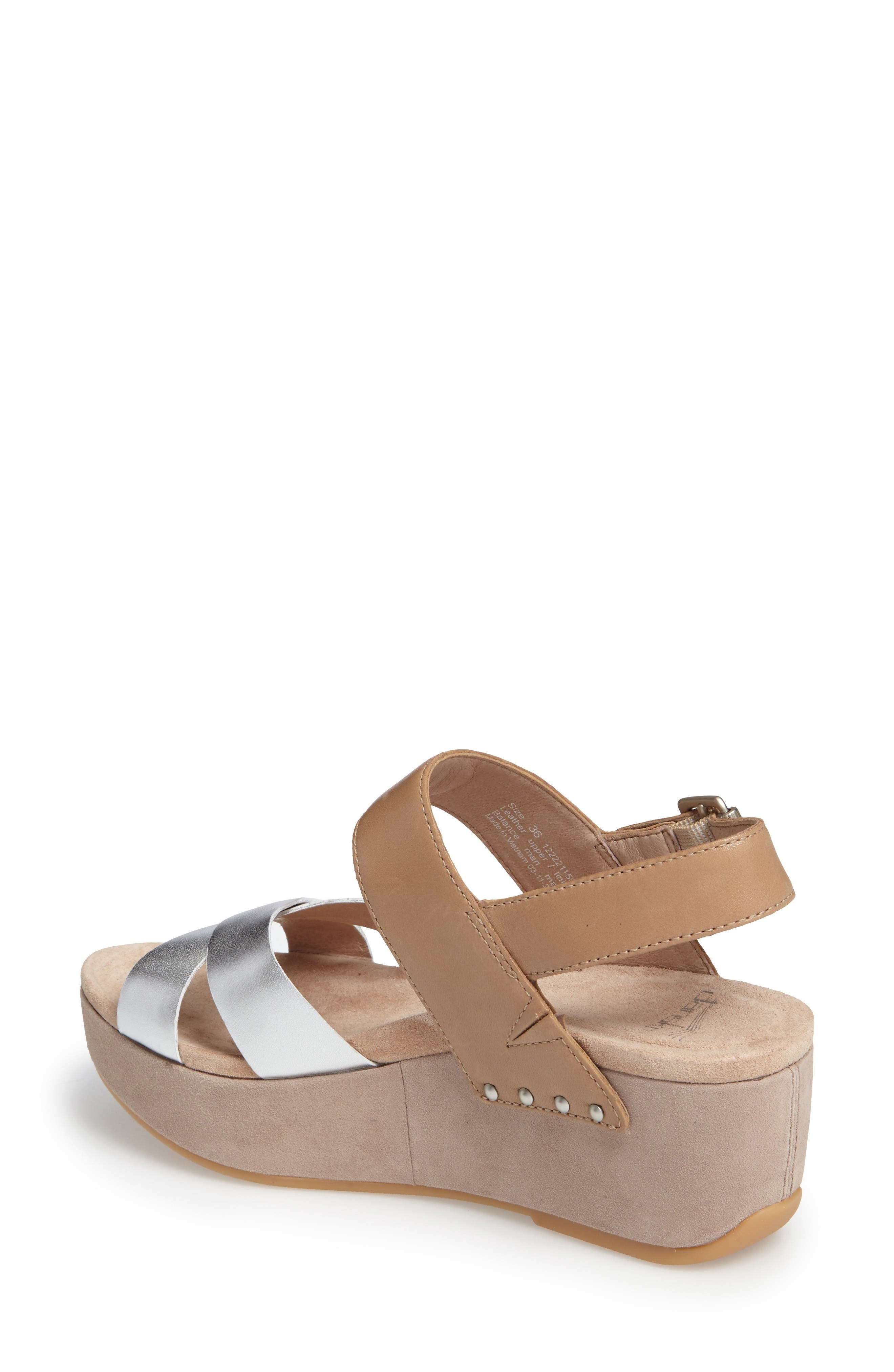 Stasia Platform Wedge Sandal,                             Alternate thumbnail 2, color,                             Sand/ Silver Leather