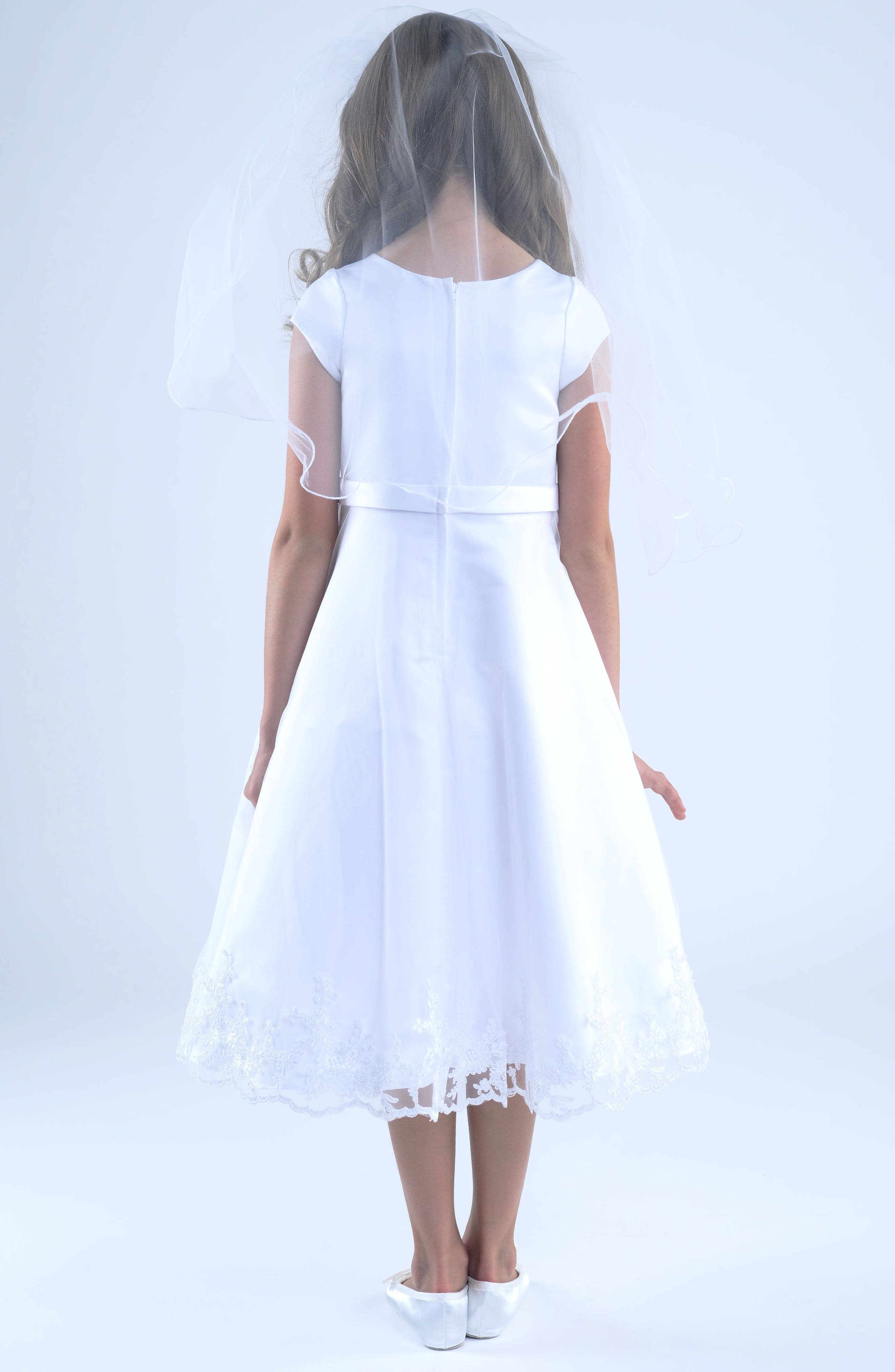 Embroidered A-Line Dress,                             Alternate thumbnail 2, color,                             White