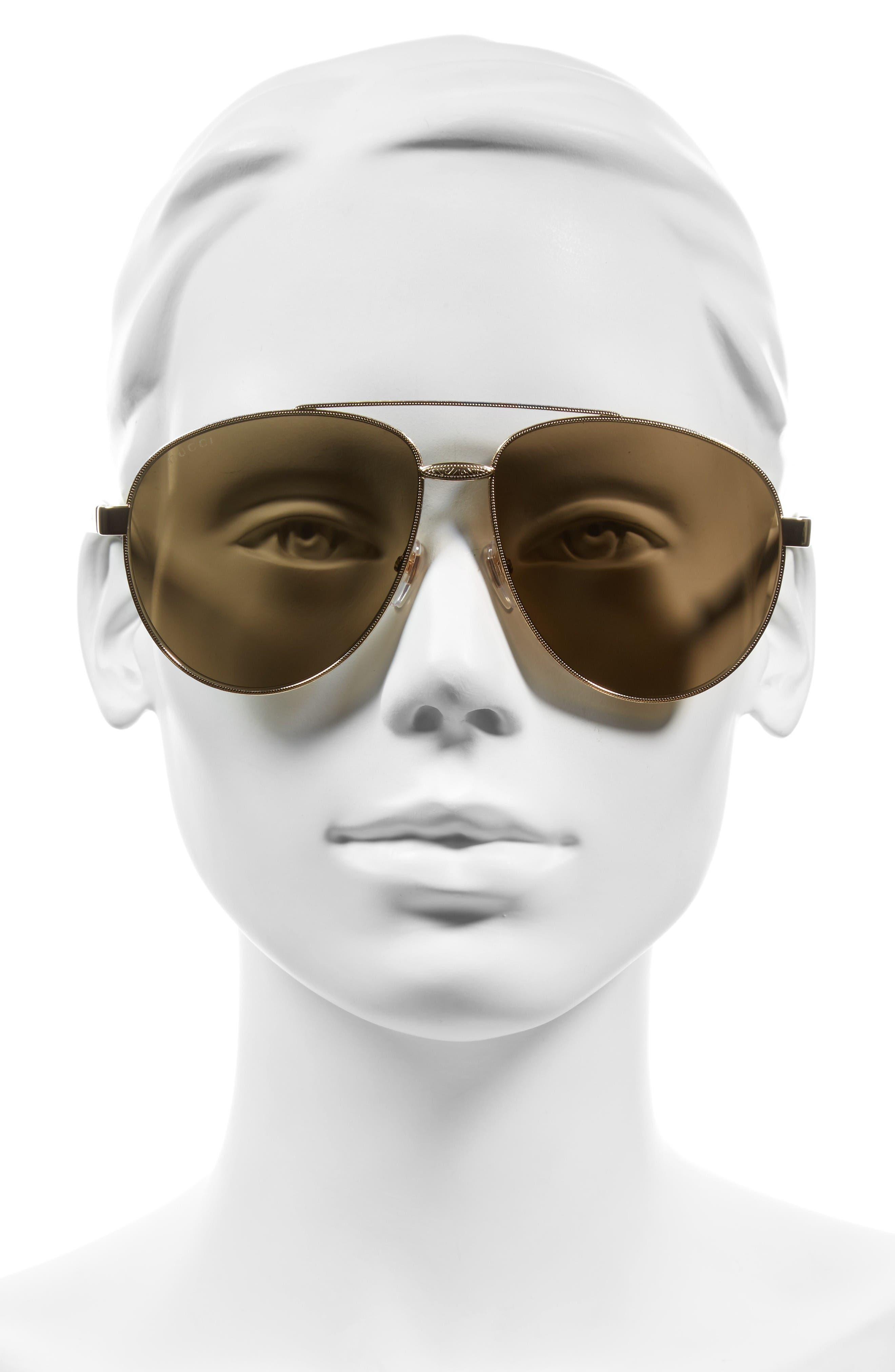 61mm Aviator Sunglasses,                             Alternate thumbnail 2, color,                             Gold/ Brown