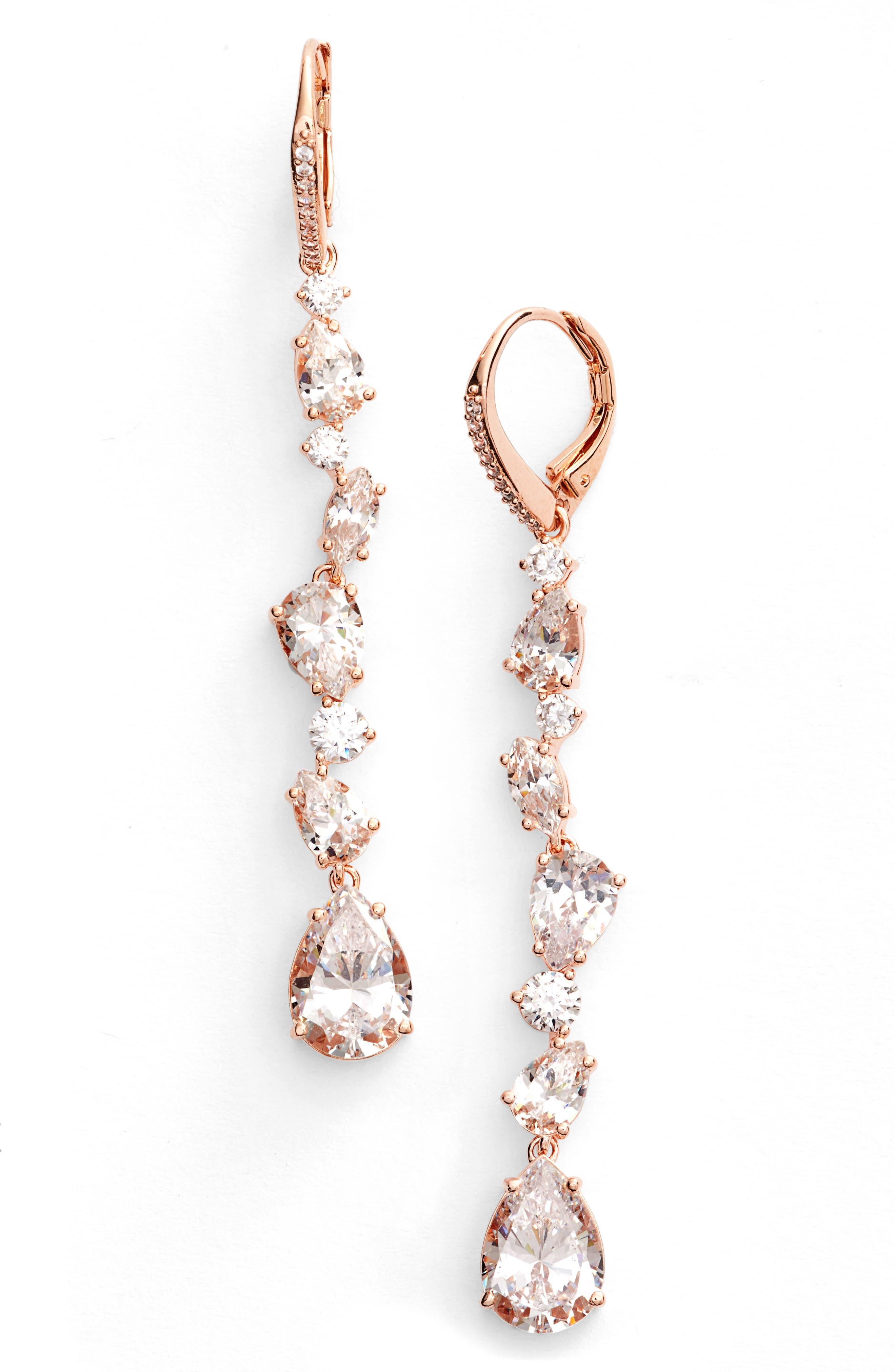 Ava Linear Drop Earrings,                         Main,                         color, Rose Gold