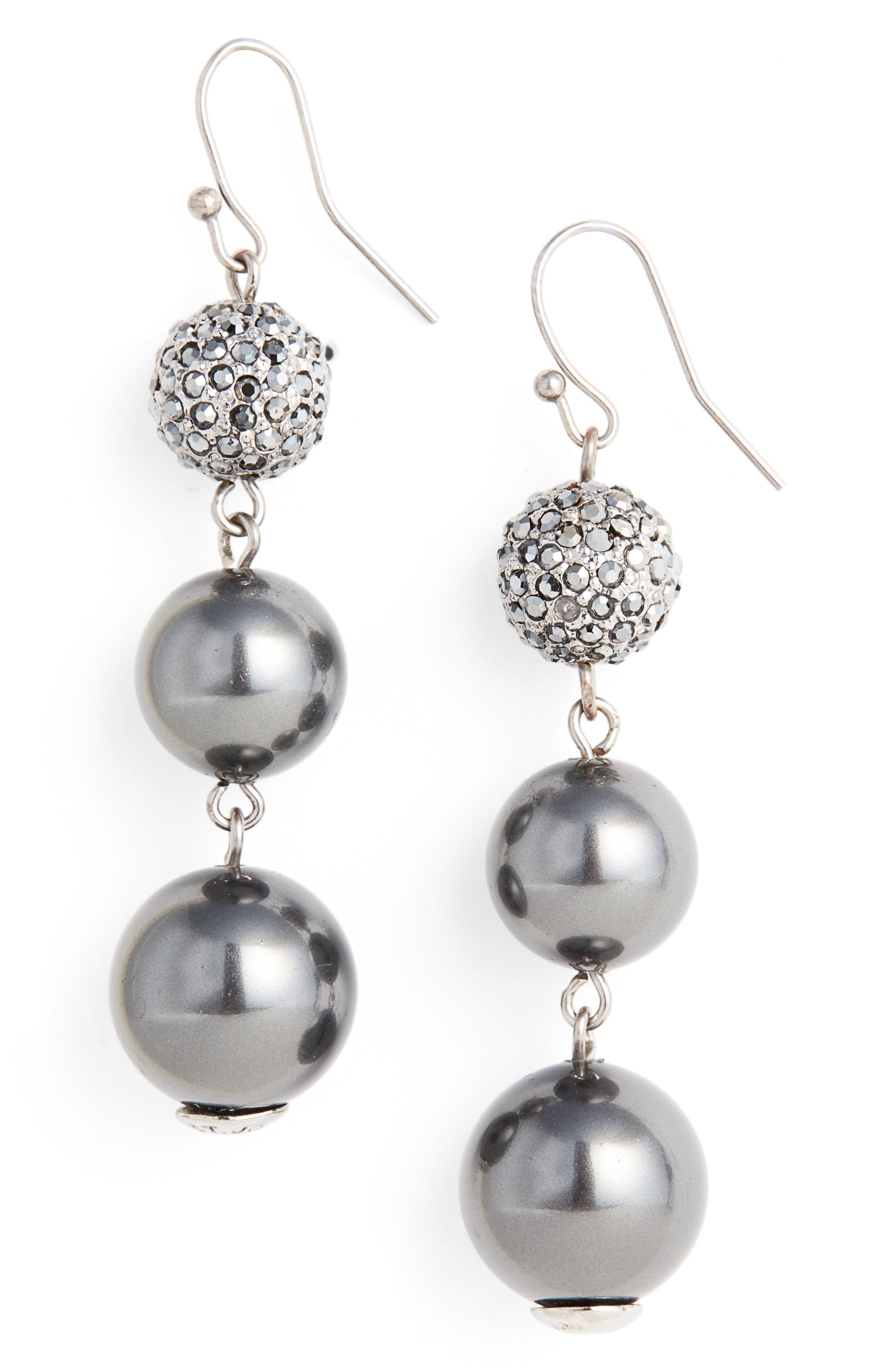 Alternate Image 1 Selected - St. John Collection Swarovski Imitation Pearl Drop Earrings