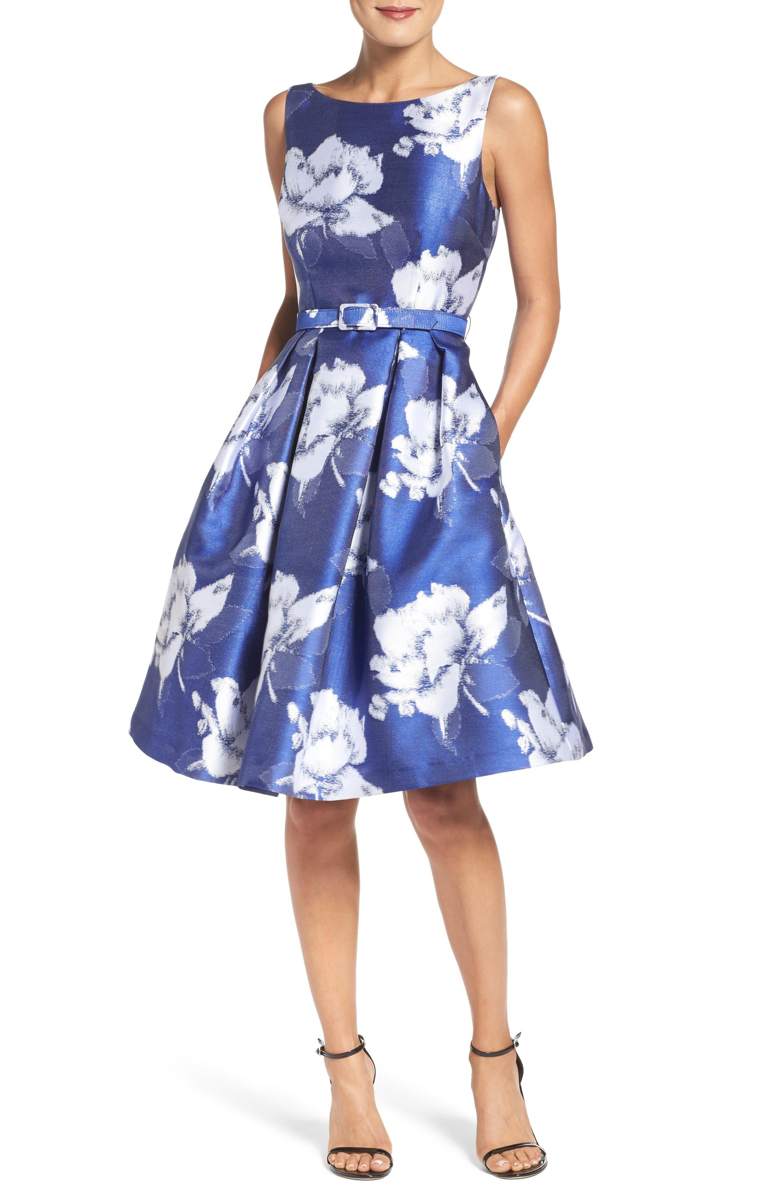 Alternate Image 4  - Eliza J Belted Floral Jacquard Dress