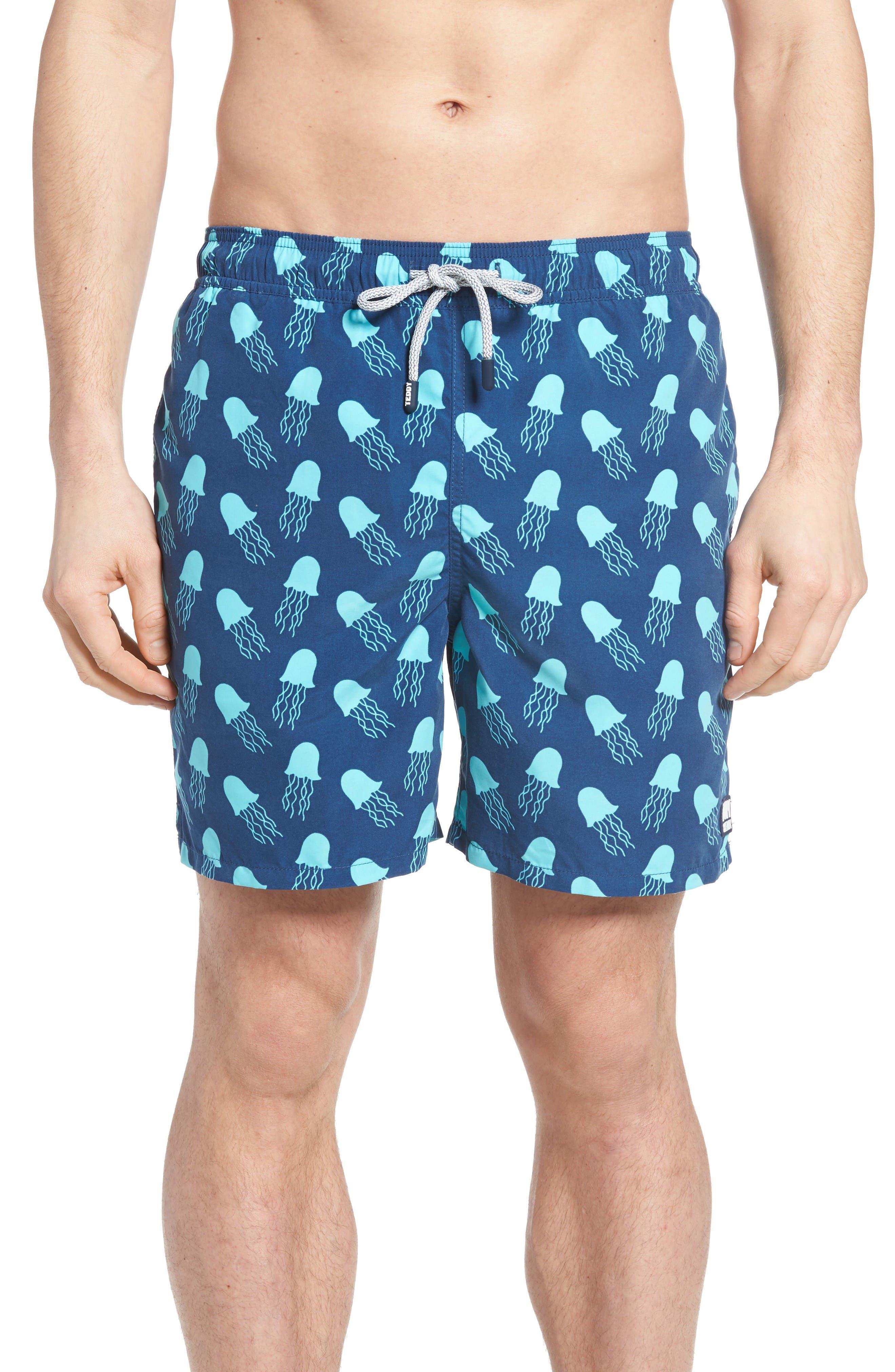 Jellyfish Print Swim Trunks,                             Main thumbnail 1, color,                             Navy Turquoise