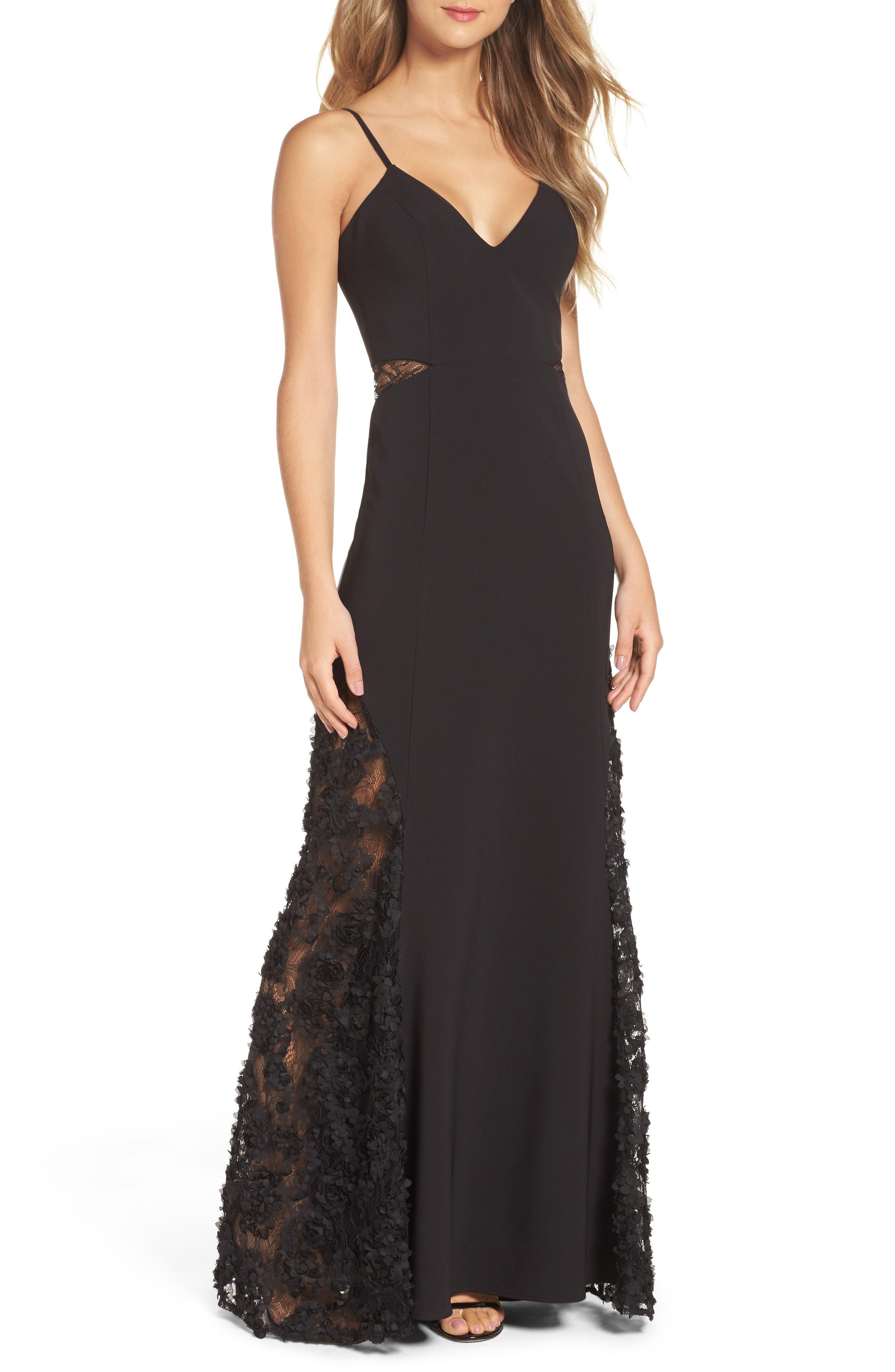Shannon Lace Inset Gown,                             Main thumbnail 1, color,                             Black