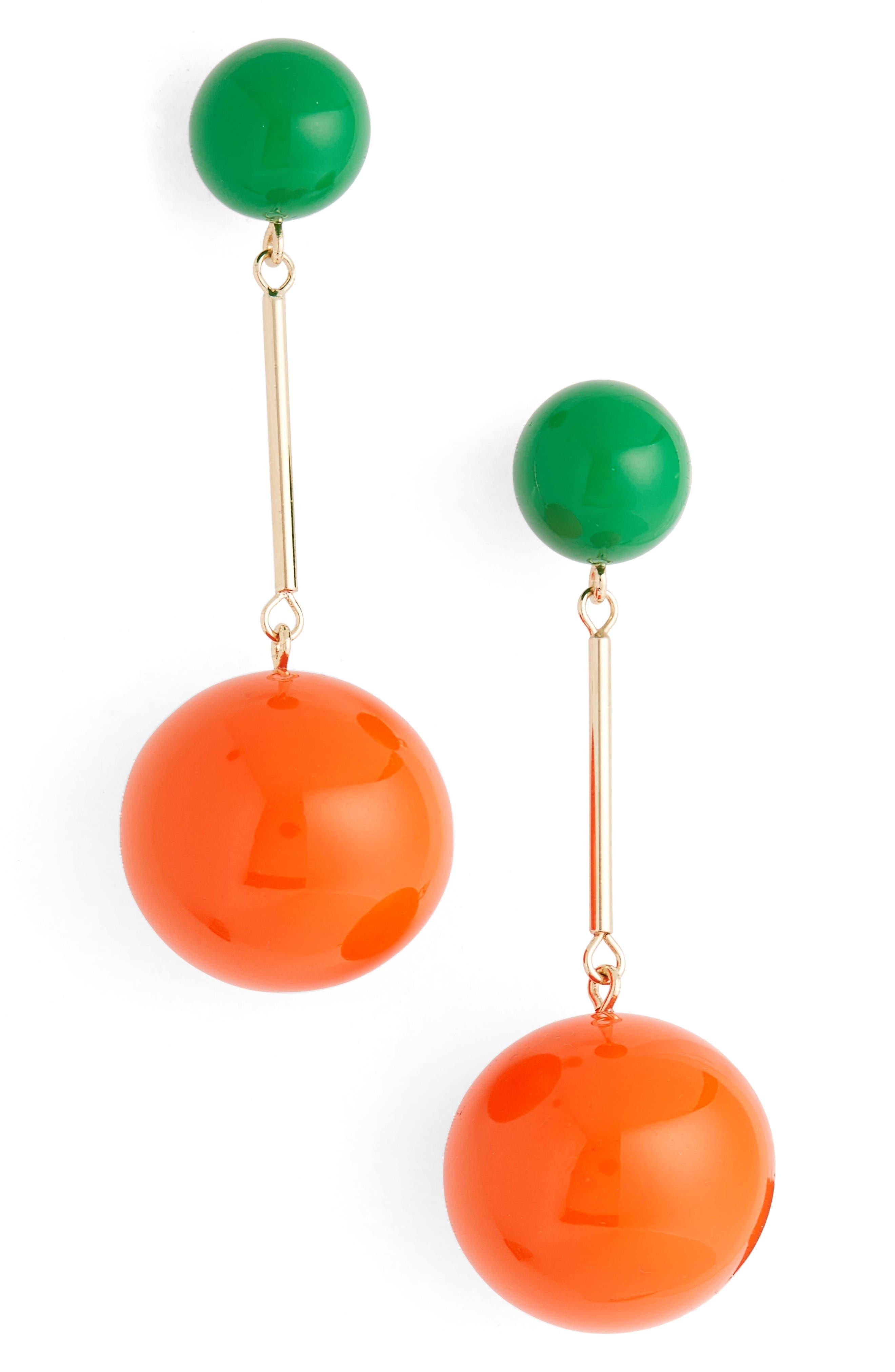 J.W.ANDERSON Sphere Drop Earrings,                         Main,                         color, Tangerine/Green